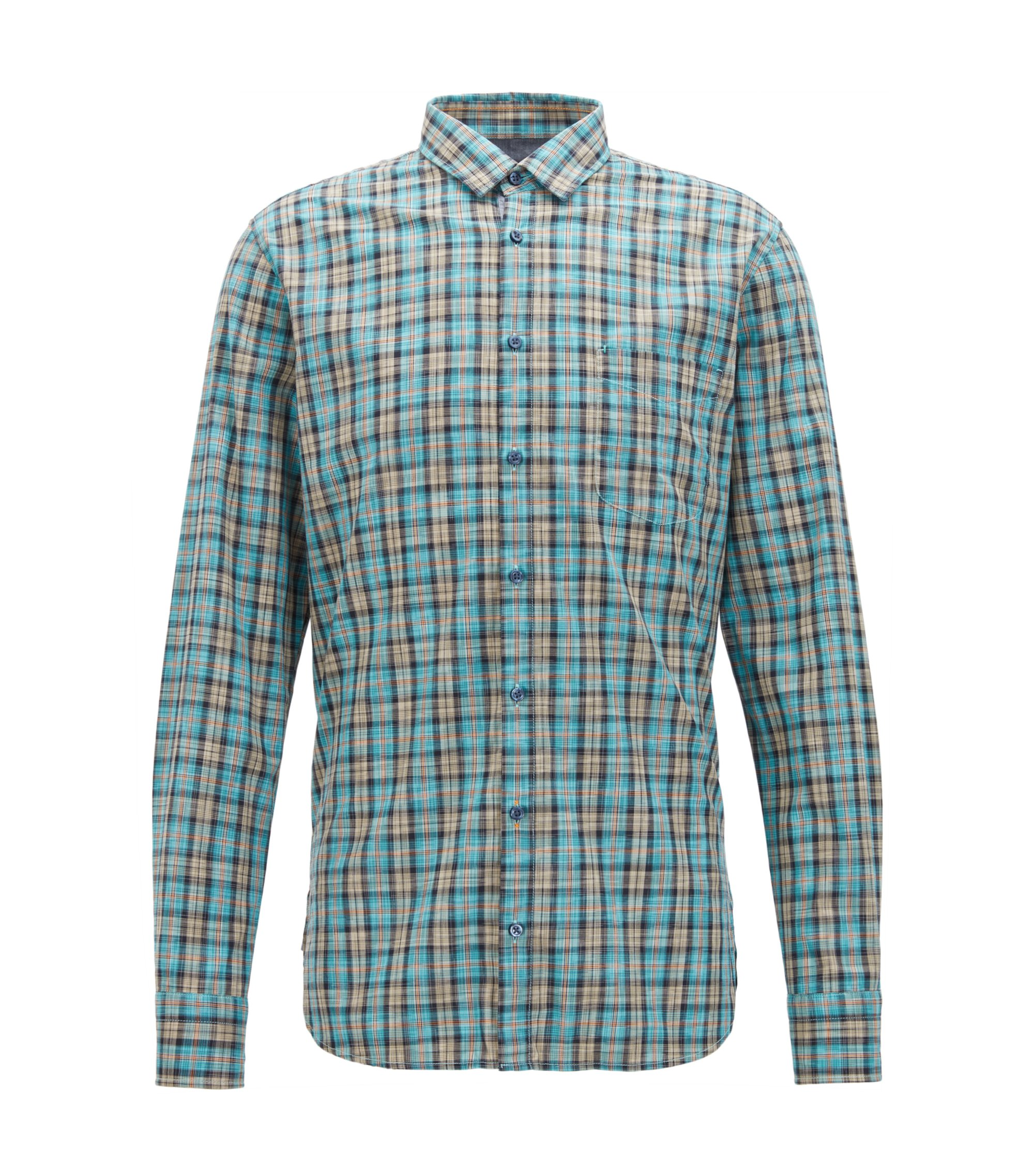 Camicia in cotone slim fit a quadri policromi, Turchese