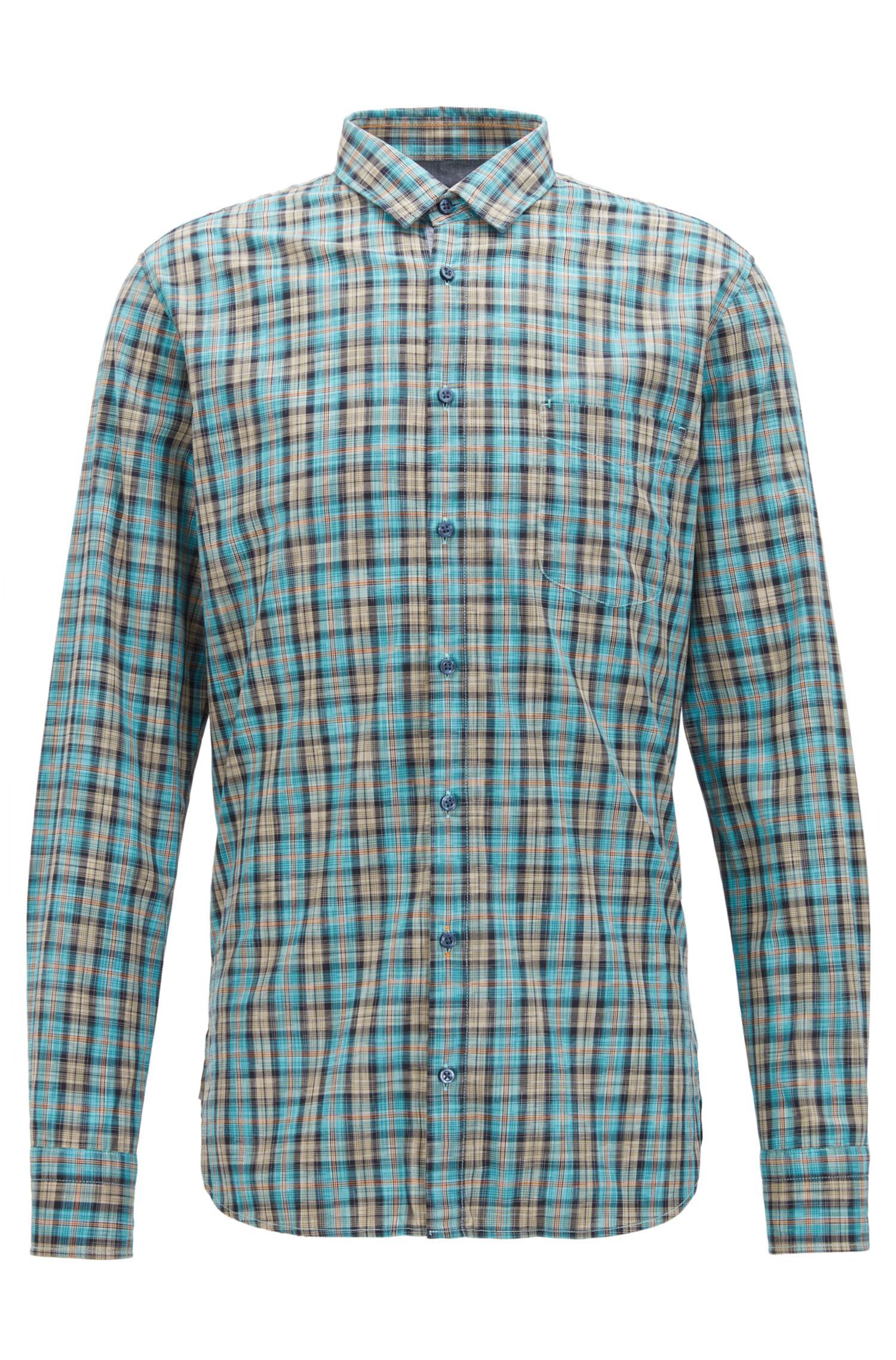 Chemise en coton Slim Fit à carreaux multicolores
