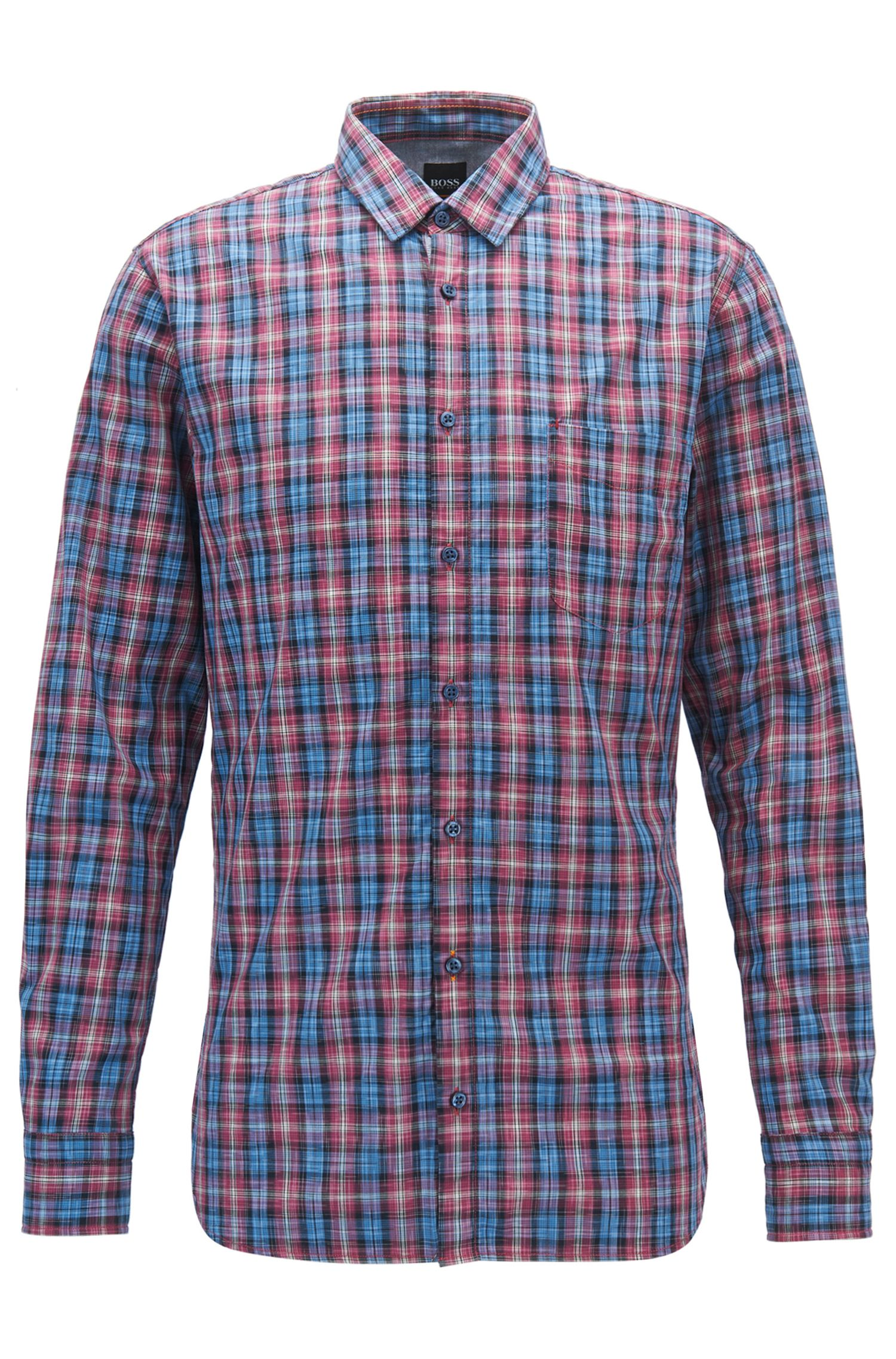 Slim-fit cotton shirt with multicoloured check