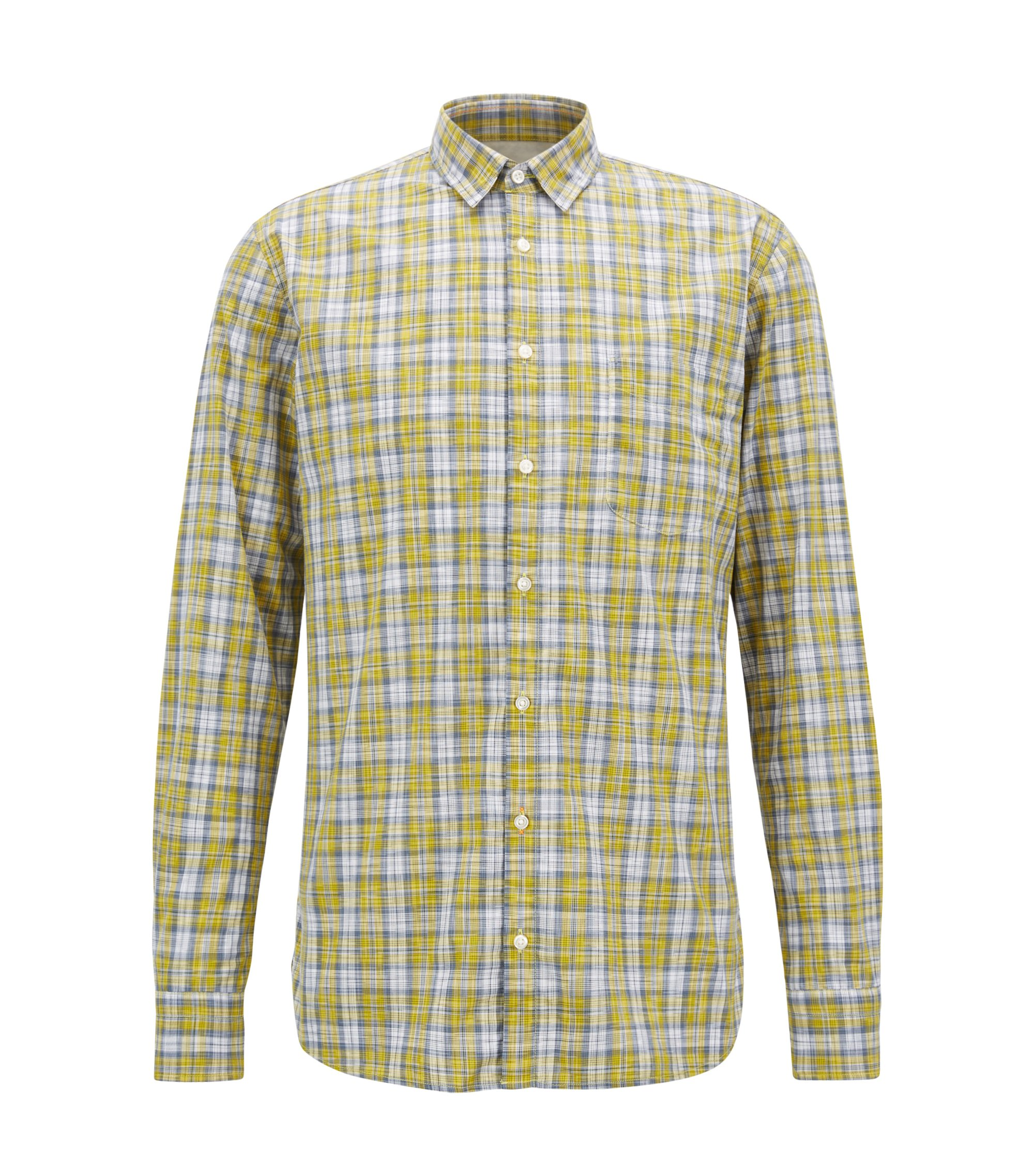 Camicia in cotone slim fit a quadri policromi, Giallo