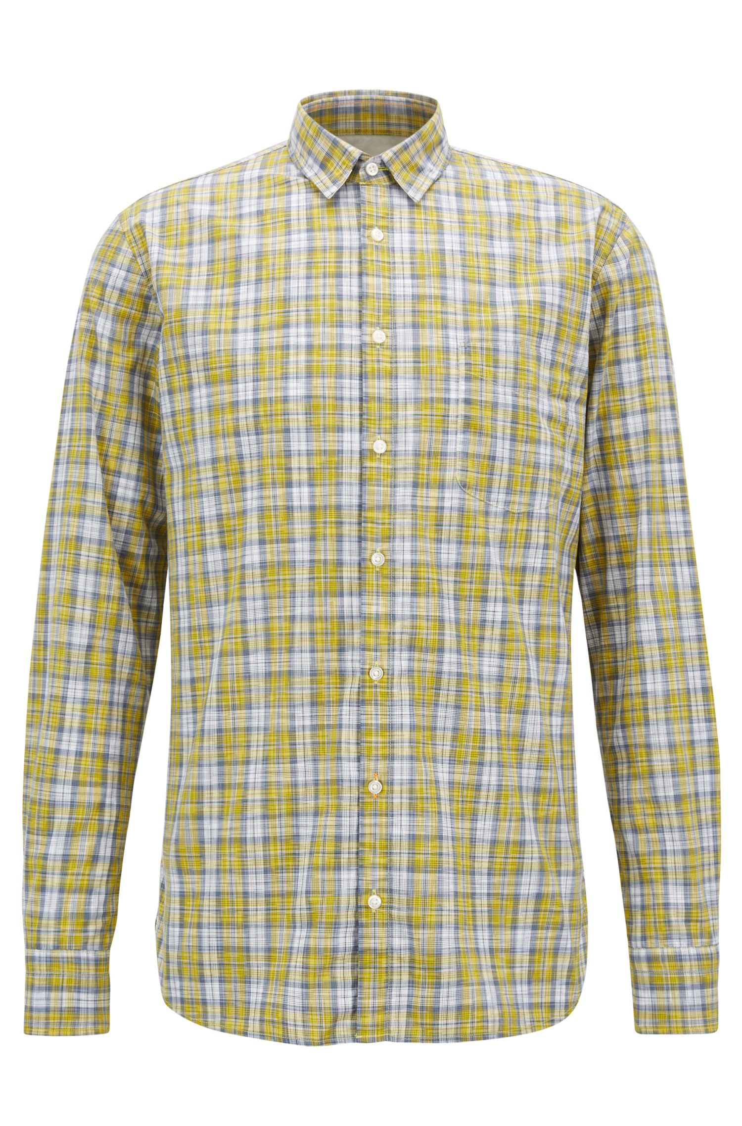 Slim-Fit Hemd aus Baumwolle mit mehrfarbigem Karomuster