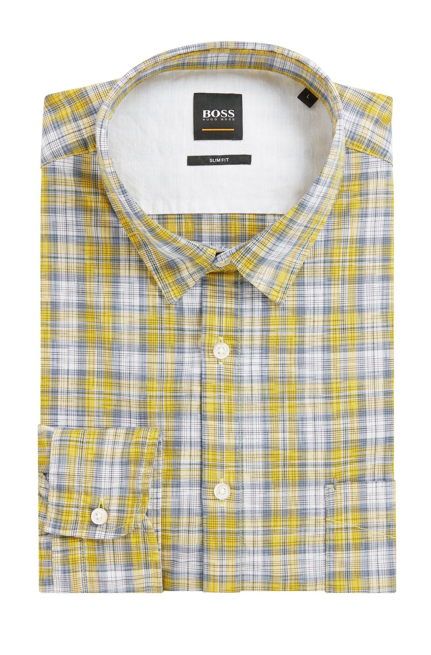 Slim-fit overhemd van katoen met meerkleurig ruitdessin