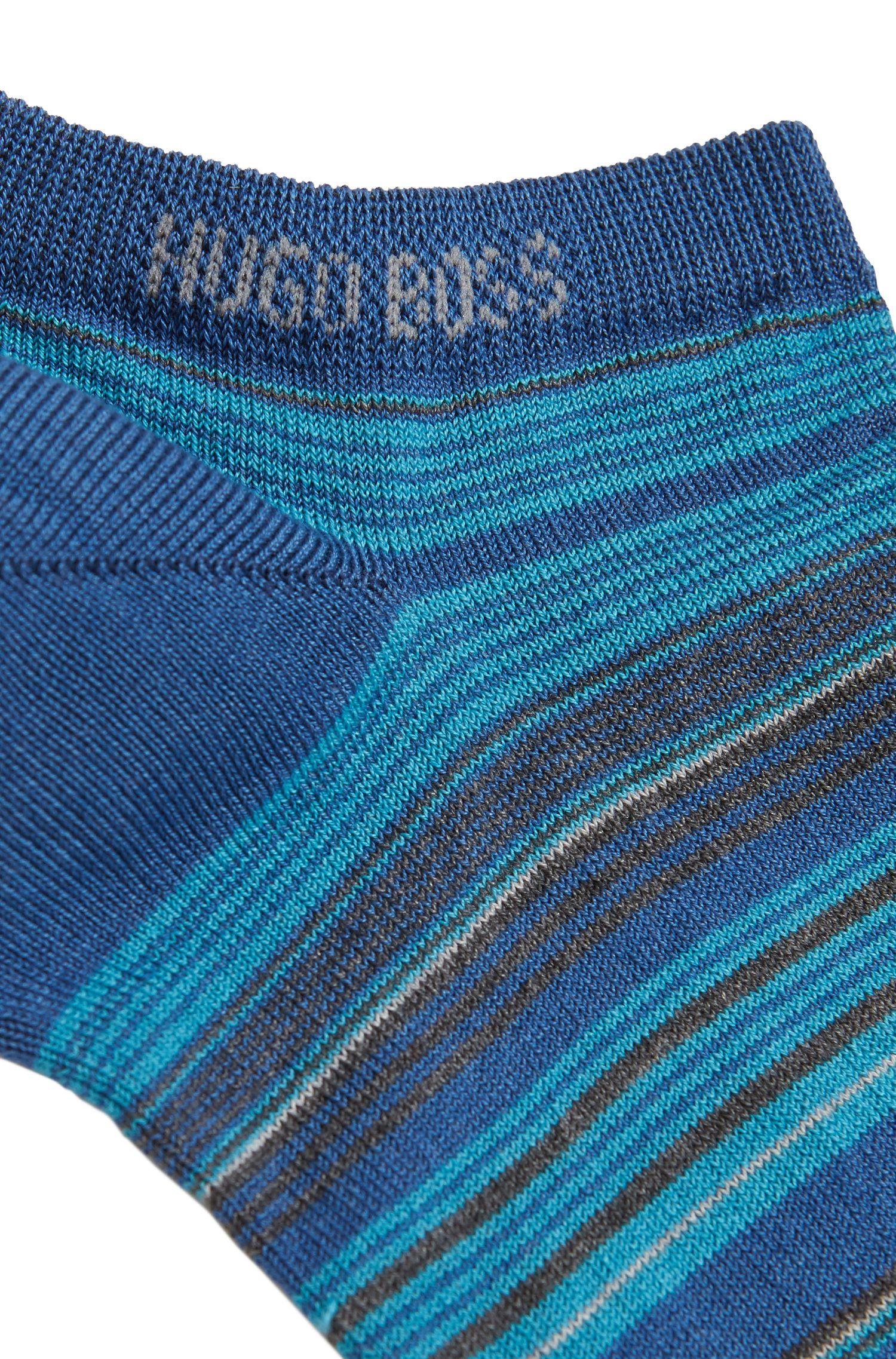 Socquettes à rayures en coton mélangé mercerisé