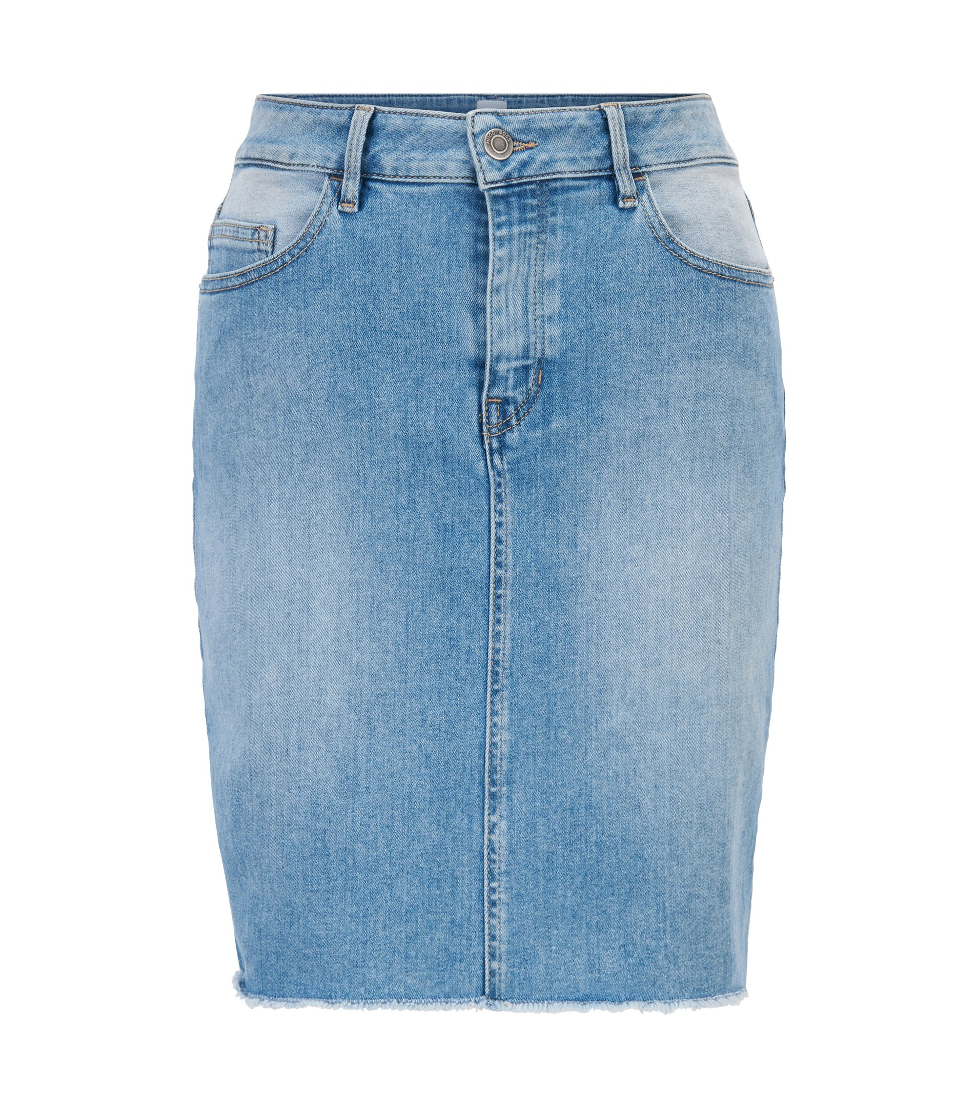 Denim mini skirt with open hem, Lichtblauw