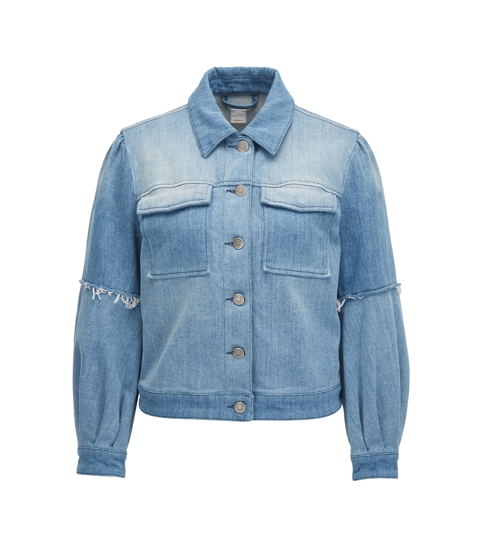 Pleated jacket in Italian stretch denim, Blue