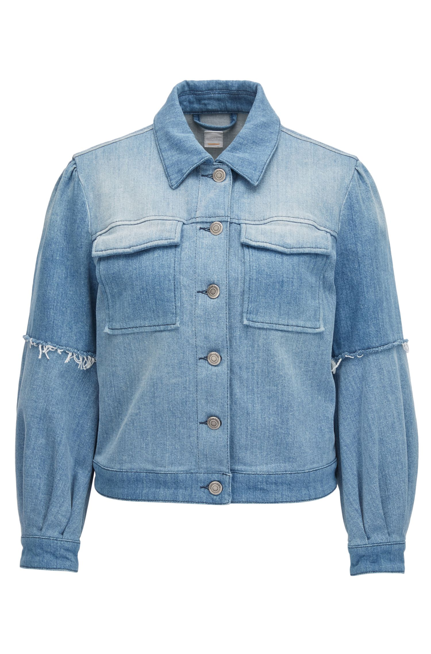 Pleated jacket in Italian stretch denim