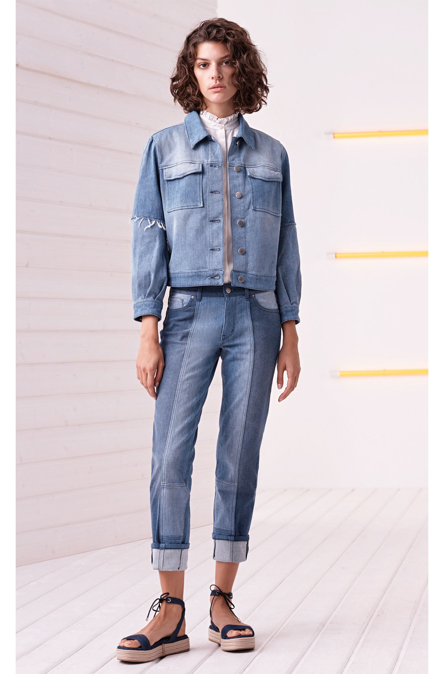 Veste plissée en denim stretch italien