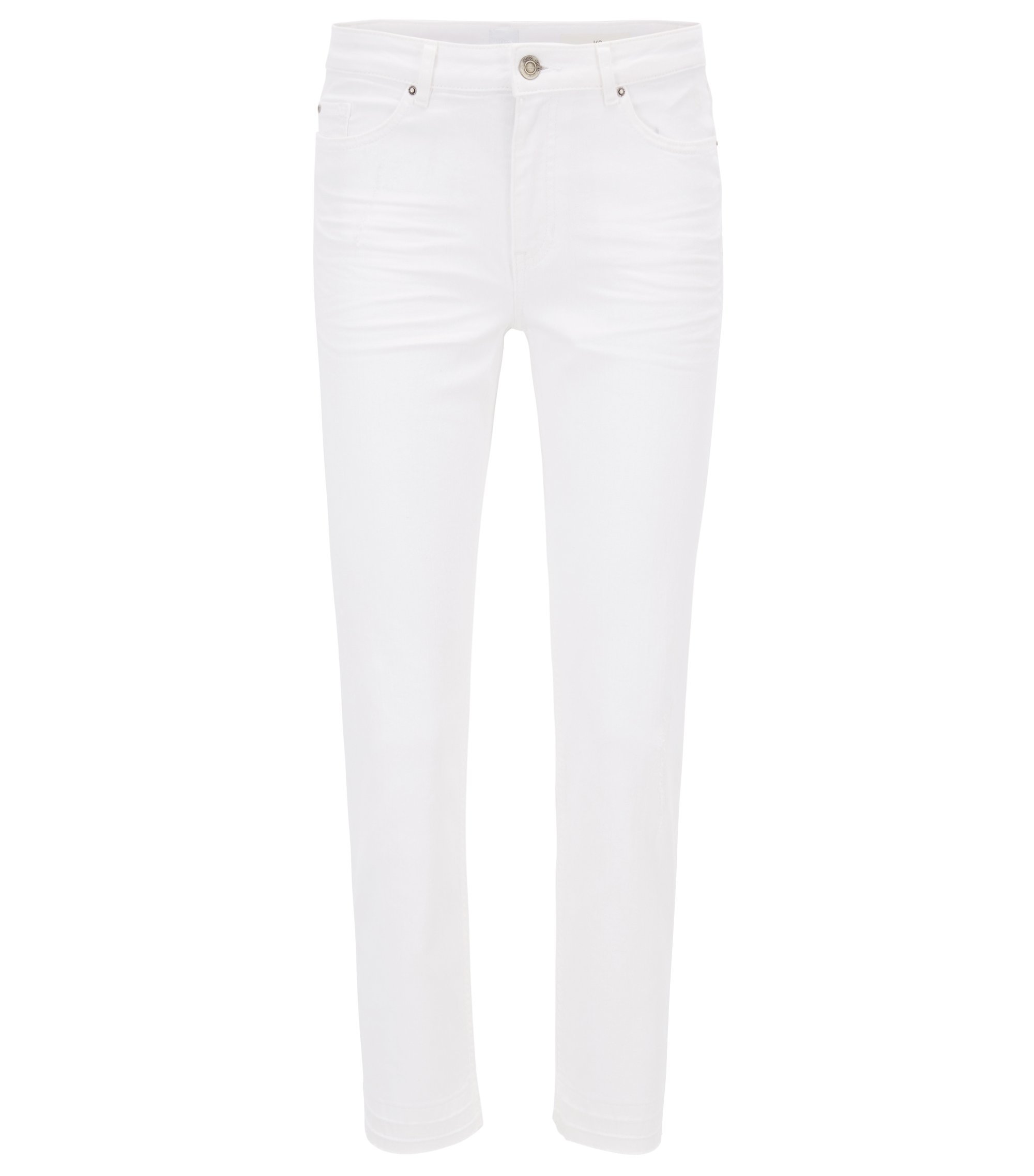 Relaxed-fit cropped jeans in comfort-stretch denim, Natural