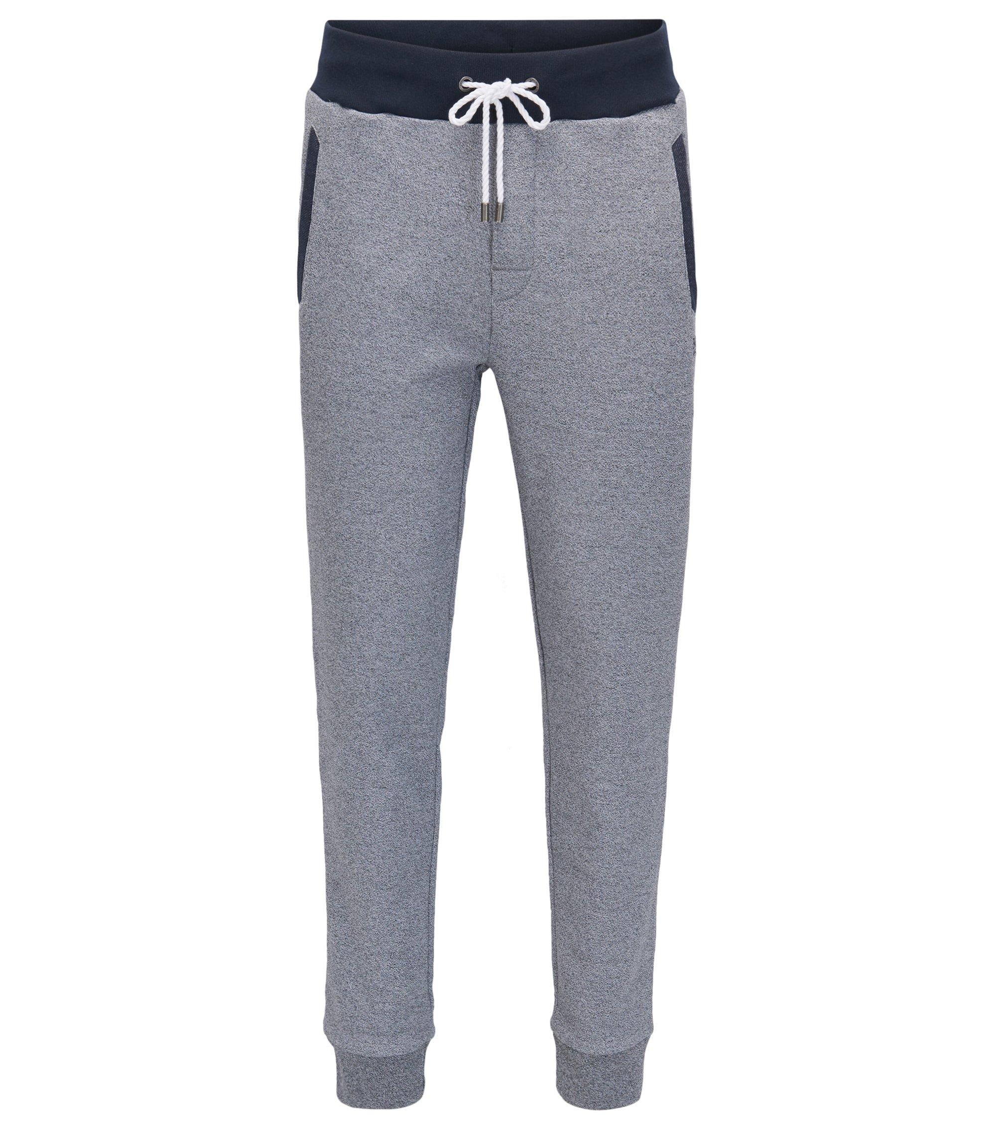 Pantaloni per il tempo libero in french terry mélange con fondo gamba elastico, Grigio