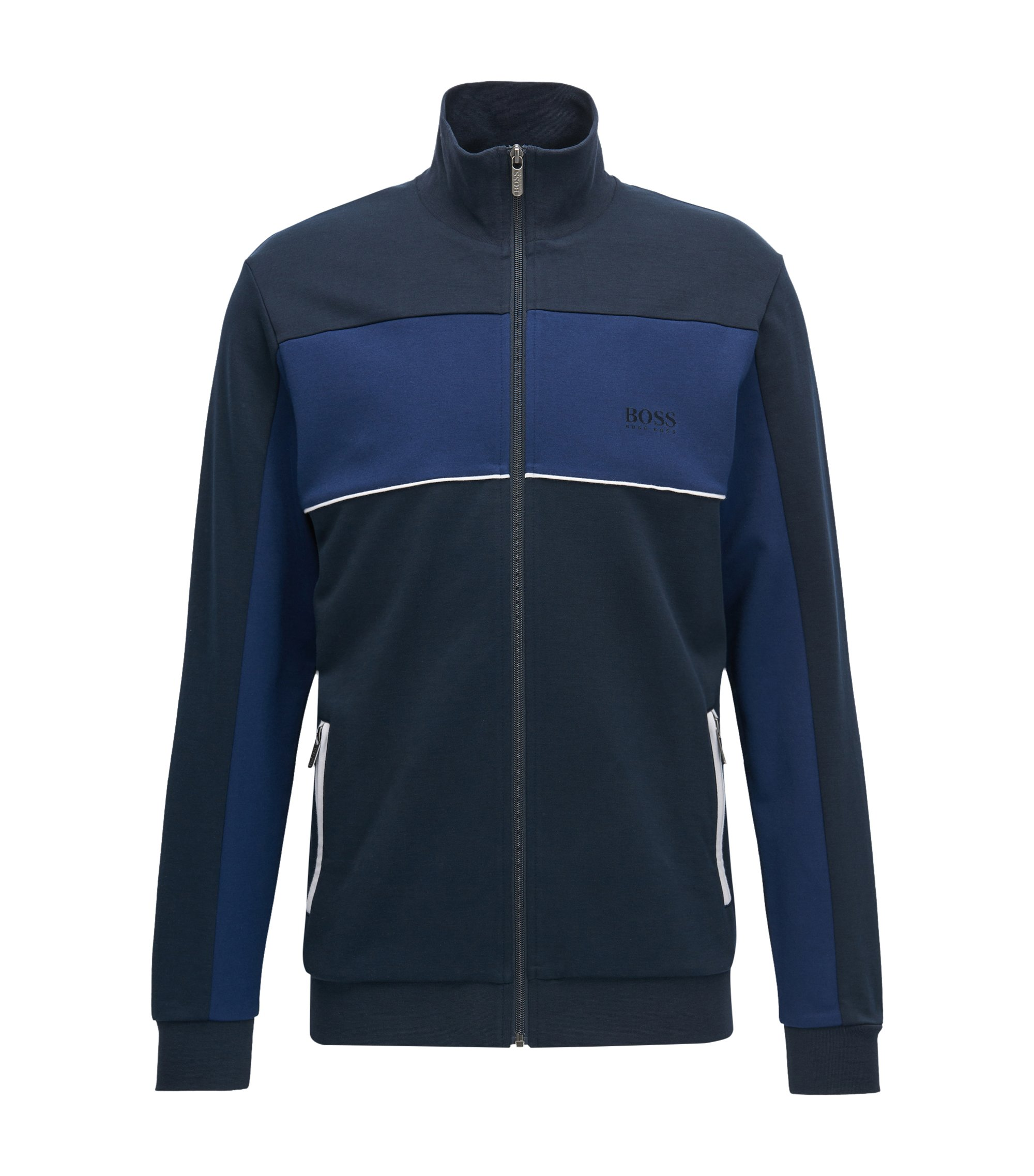 Regular-fit jacket in a cotton-blend piqué, Dark Blue
