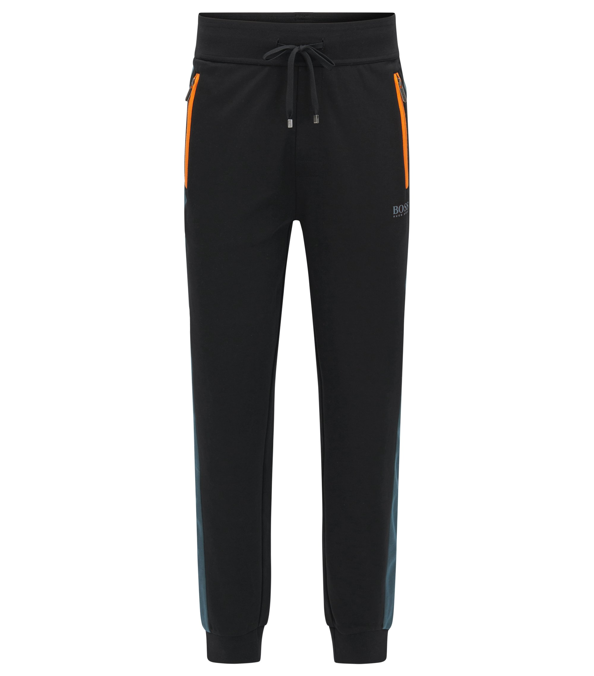Cuffed jogging bottoms in a cotton-blend pique with contrast accents, Black