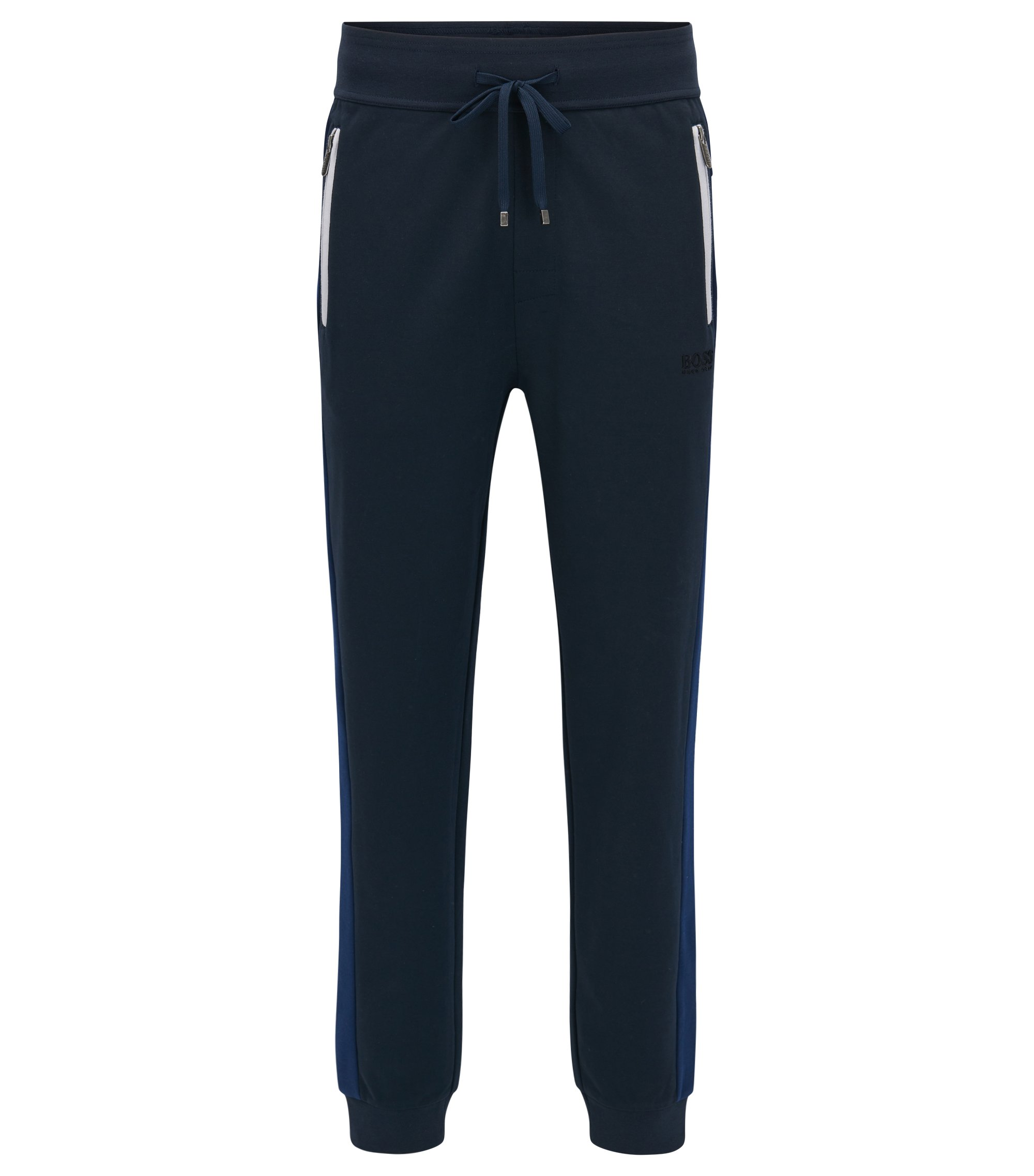 Cuffed jogging bottoms in a cotton-blend pique with contrast accents, Dark Blue