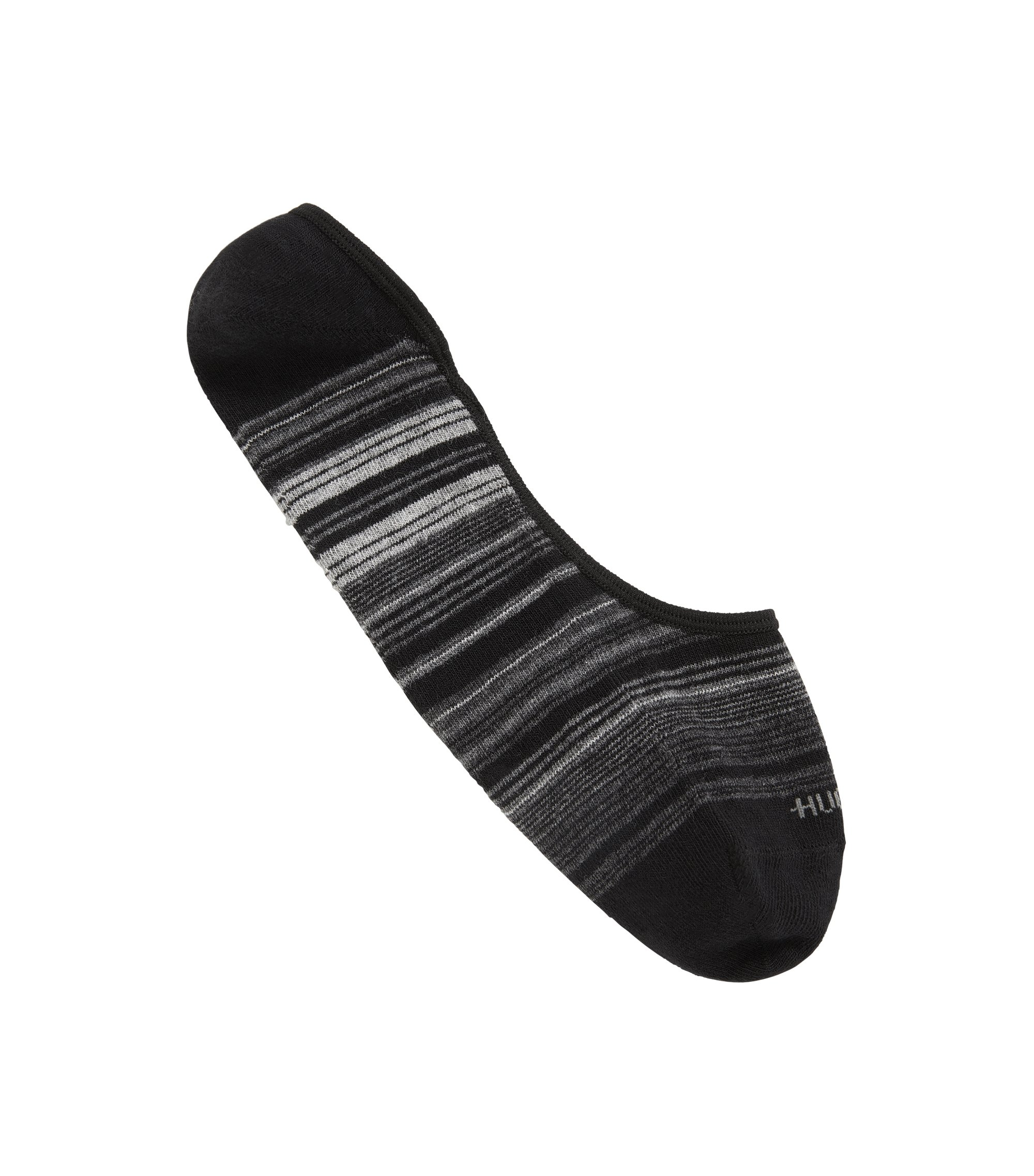 Cotton-blend invisible socks with combed finish, Schwarz
