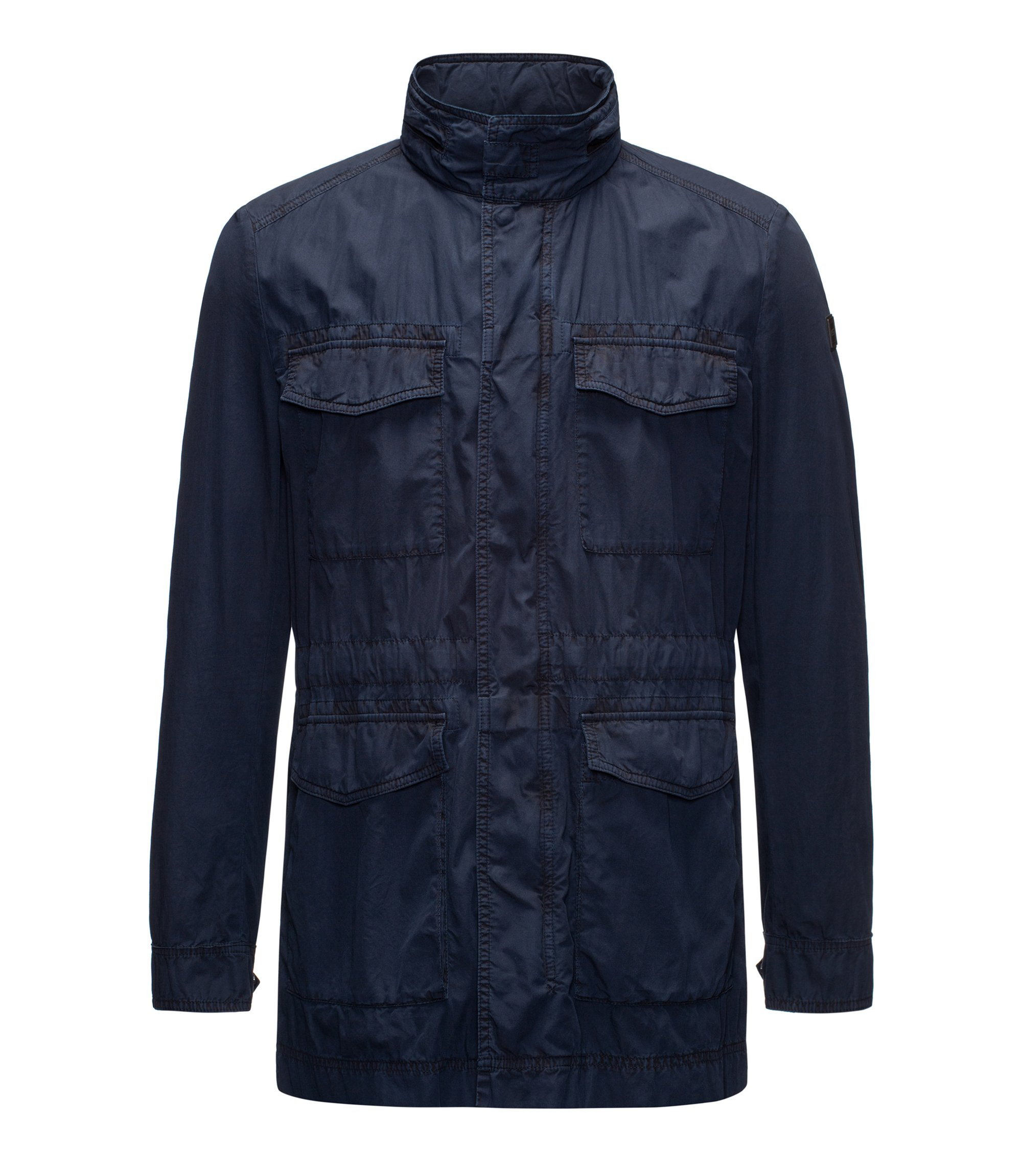Lightweight field jacket in Italian mercerised cotton, Dark Blue