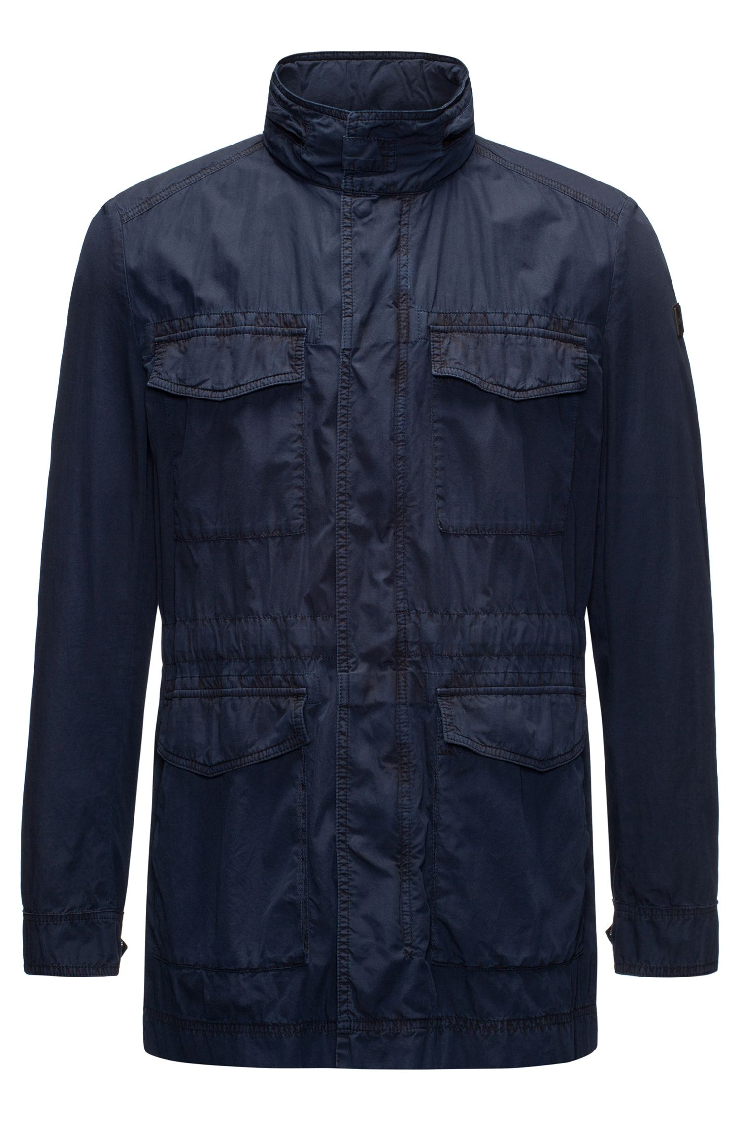 Lightweight field jacket in Italian mercerised cotton