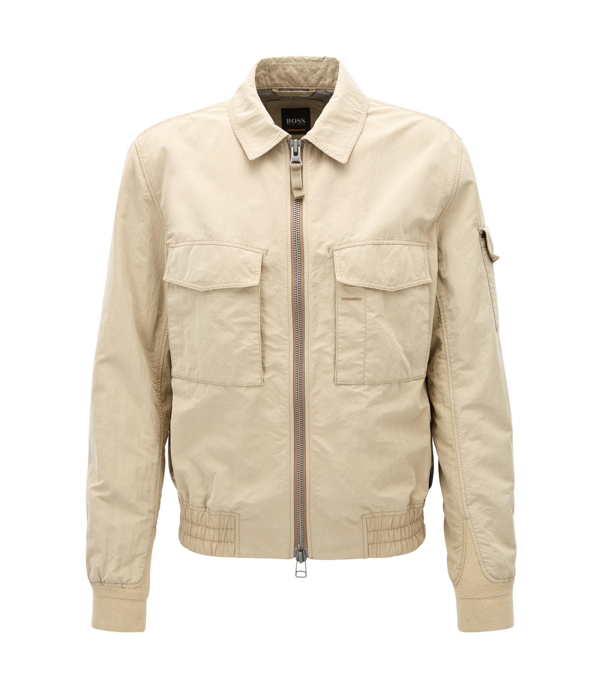 Veste Regular Fit en tissu technique bicolore, Beige