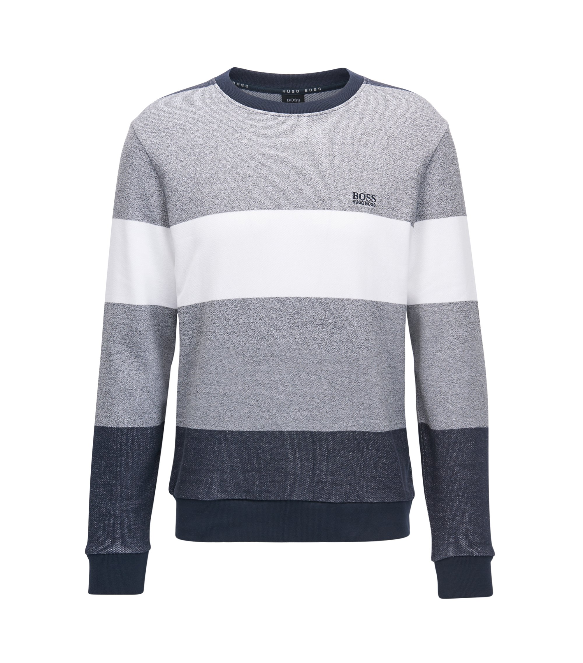Block-stripe loungewear sweater in French terry, Grey