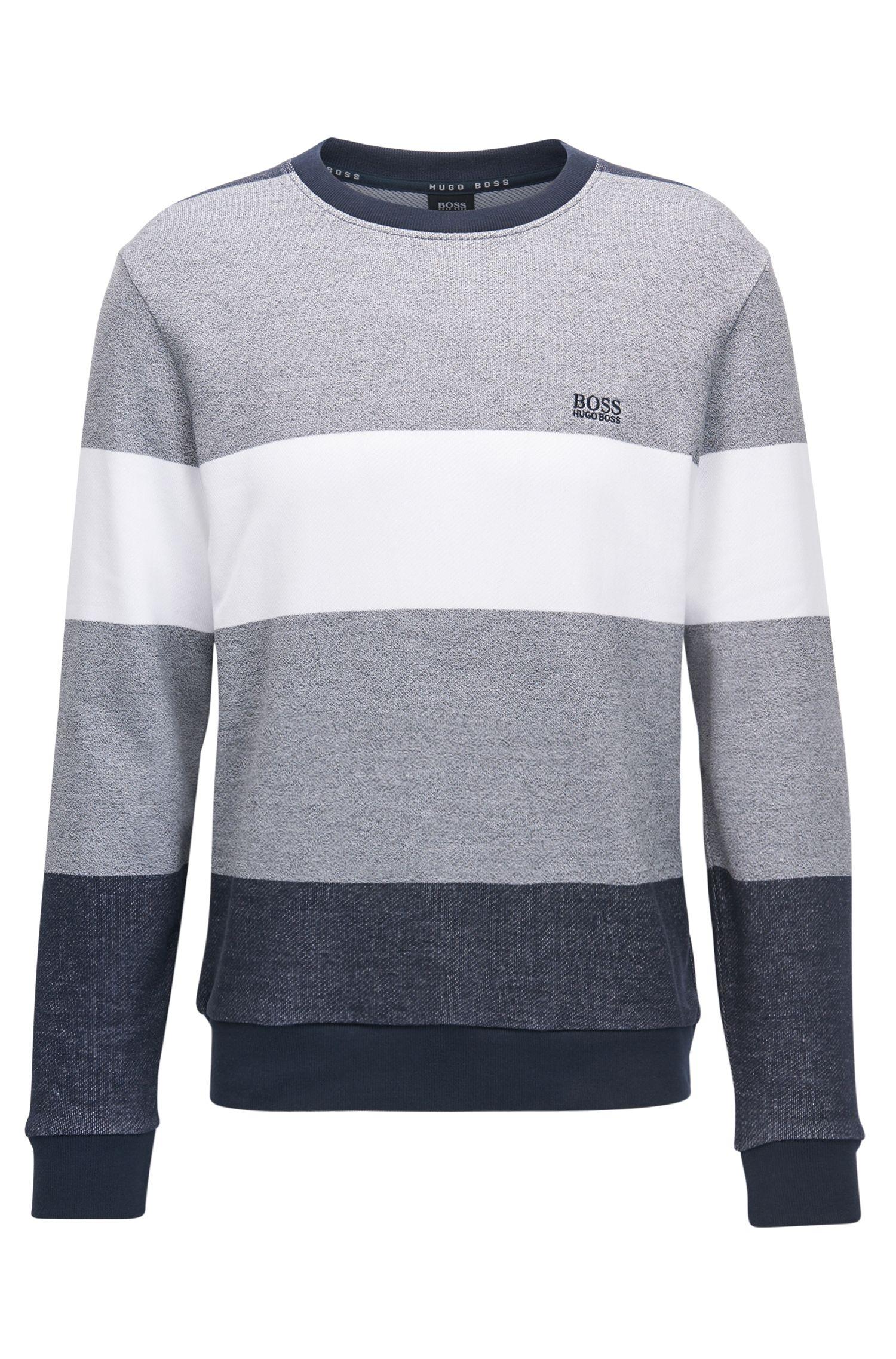 Loungewear-Pullover aus Baumwolle mit Blockstreifen