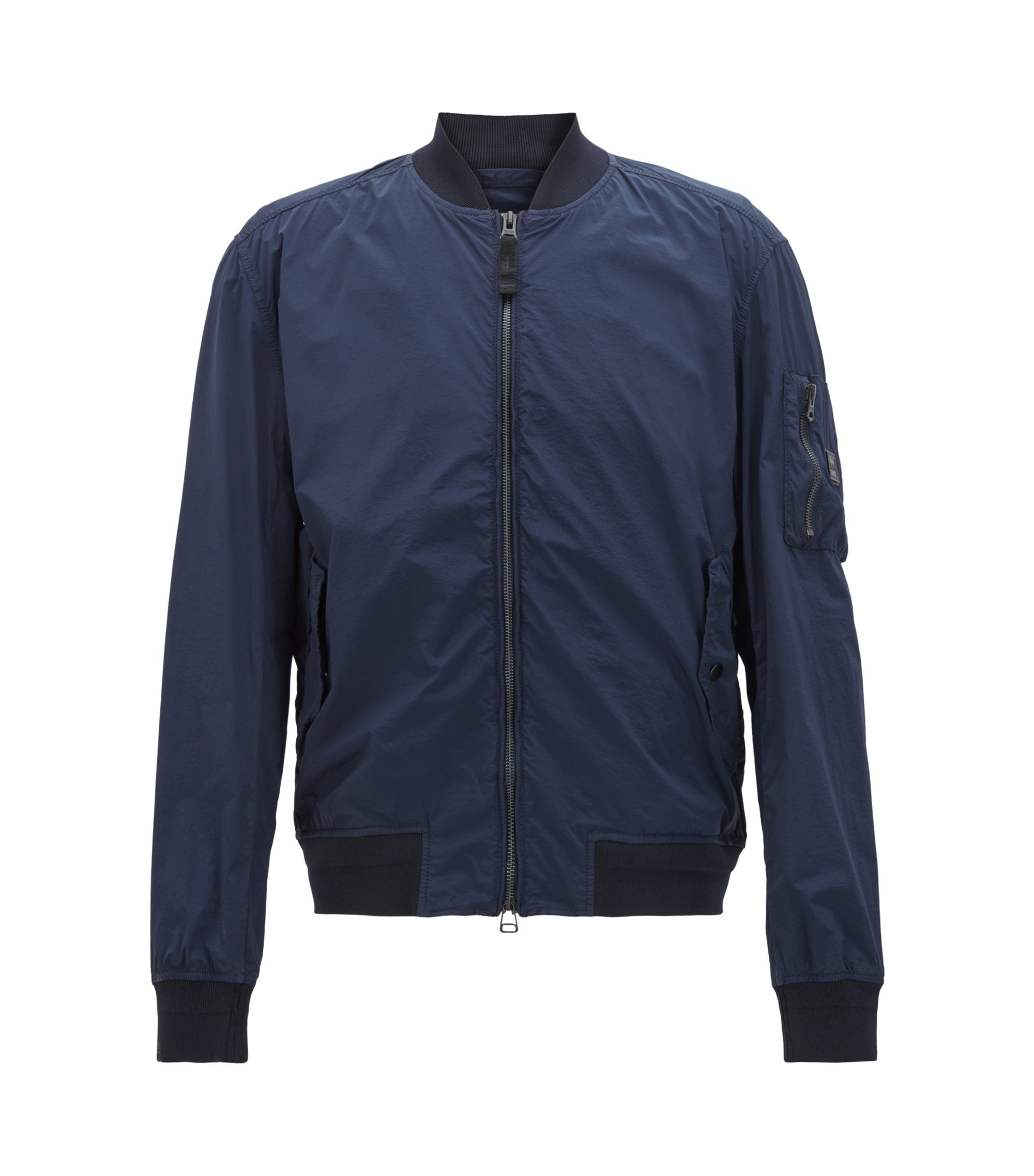 Bomber-style jacket in technical stretch fabric, Dark Blue