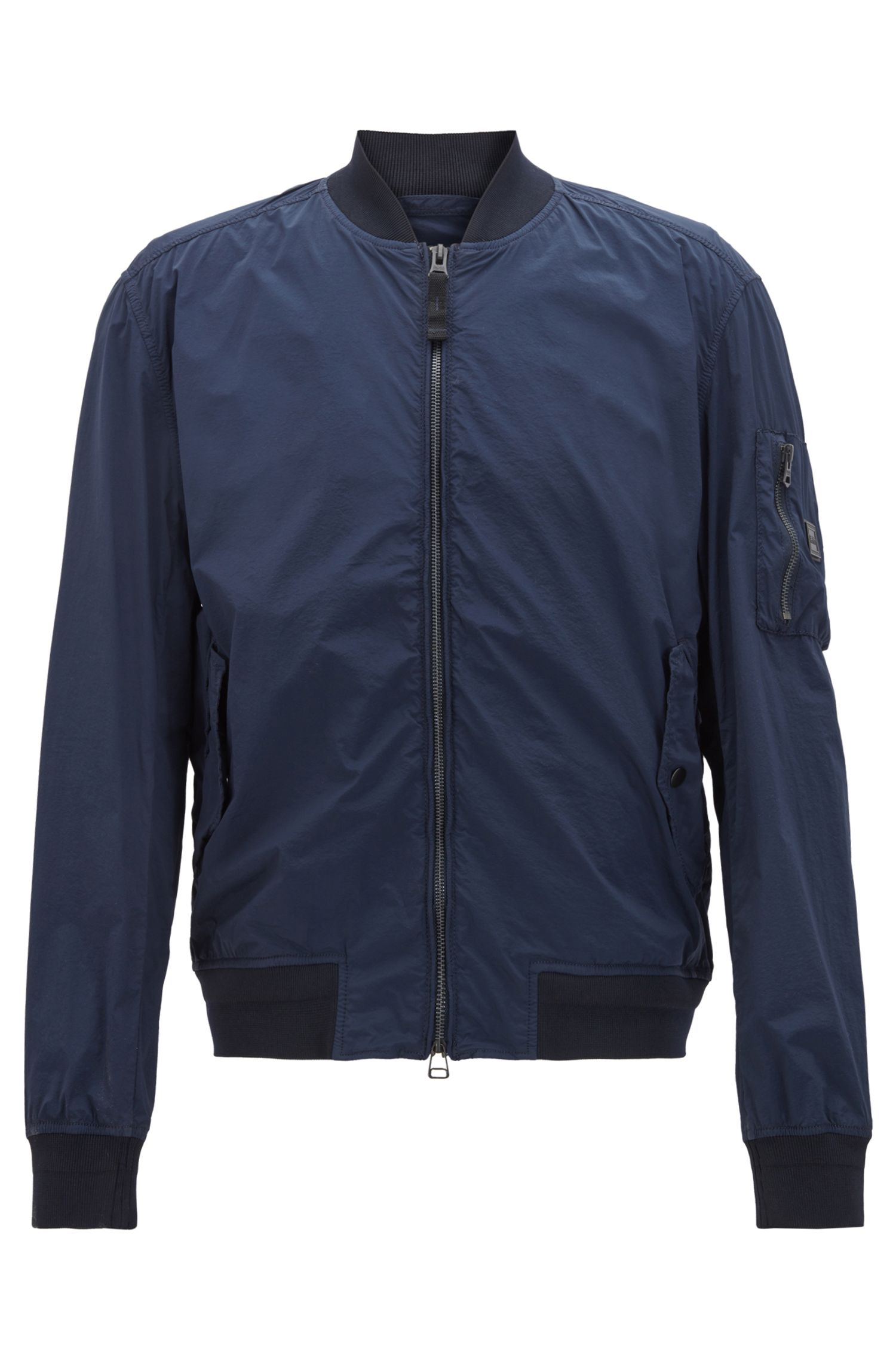 Jacke im Blouson-Stil aus elastischem Material-Mix