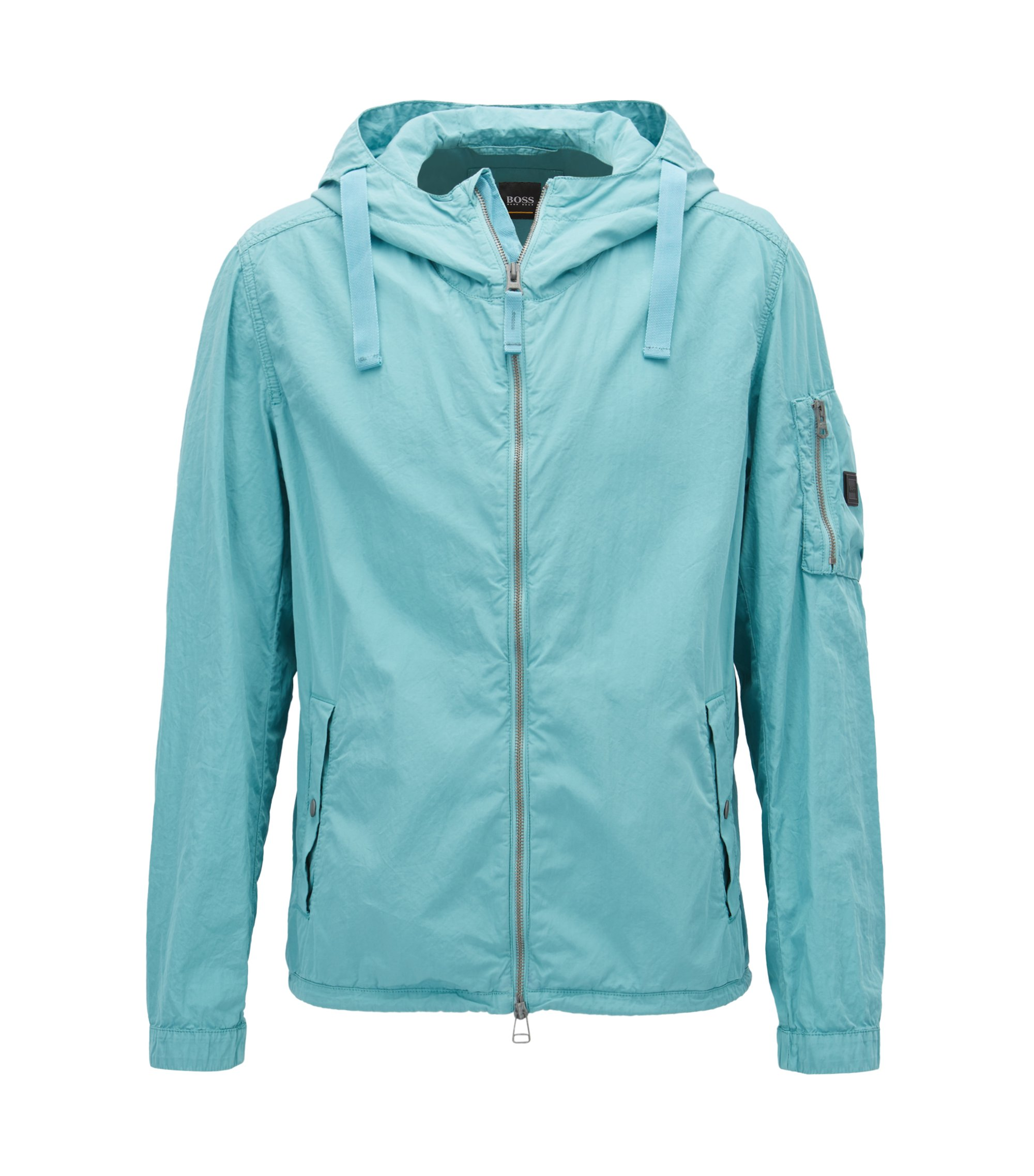 Water-repellent jacket in Italian mercerised cotton, Turquoise
