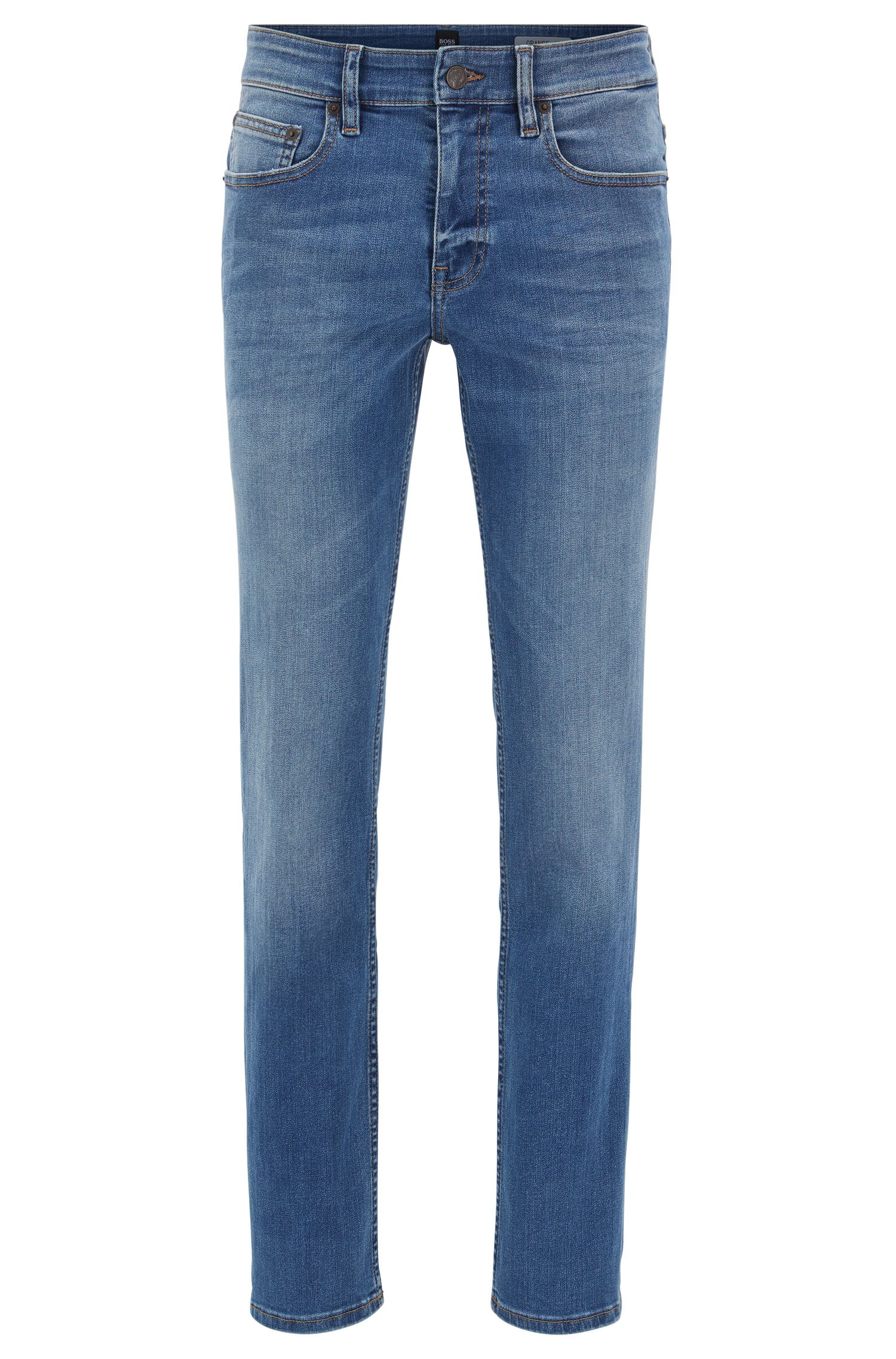 Slim-fit jeans in super-stretch mid-blue denim