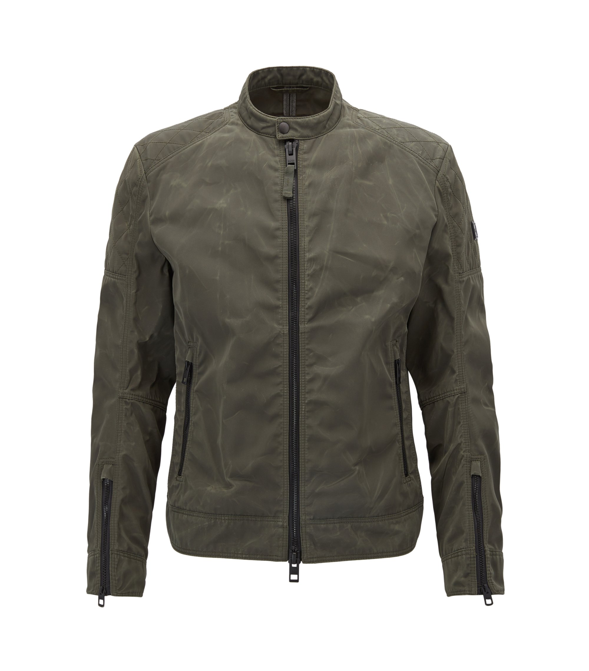Slim-fit biker jacket in used-finish waxed twill, Dark Green