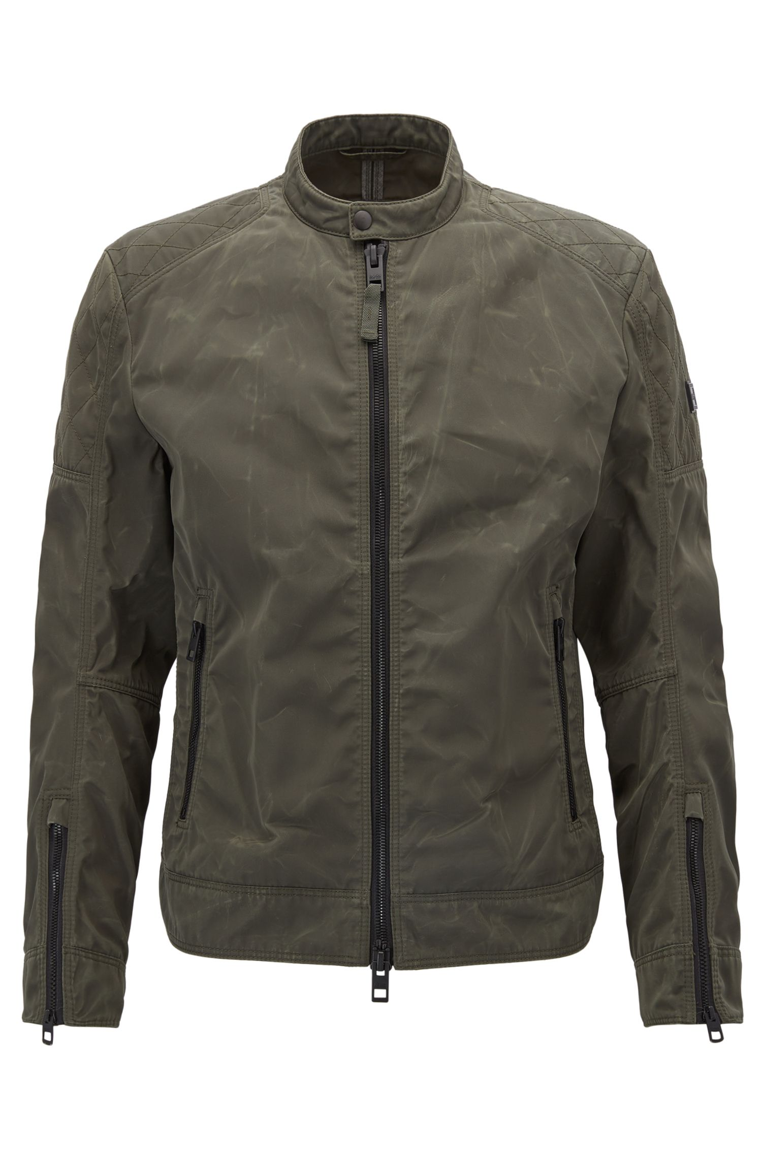 Slim-fit bikerjas in een gewaxte twill met used-finish