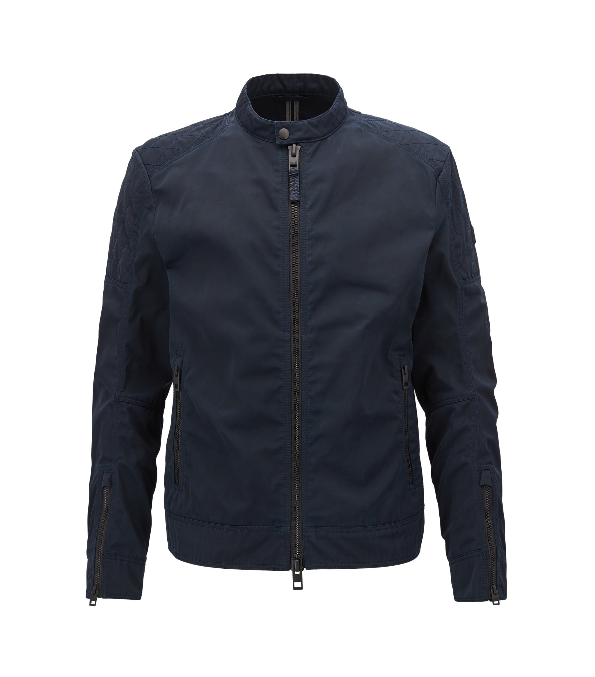 Slim-fit biker jacket in used-finish waxed twill, Dark Blue