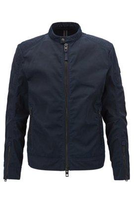 Slim-fit biker jacket in used-finish waxed twill, Dark Blue
