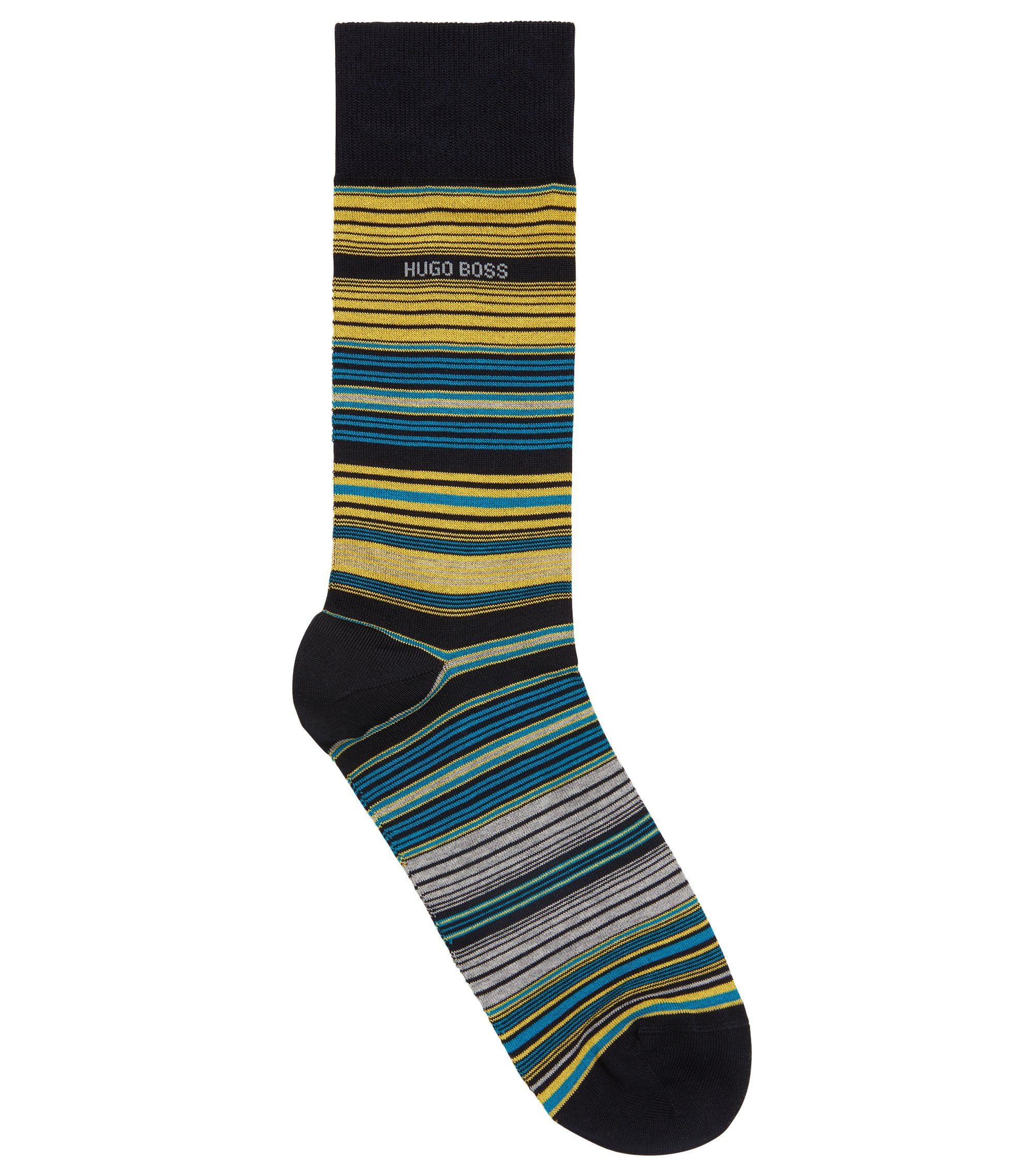 Calcetines a rayas de largo normal en mezcla de algodón mercerizado, Azul oscuro