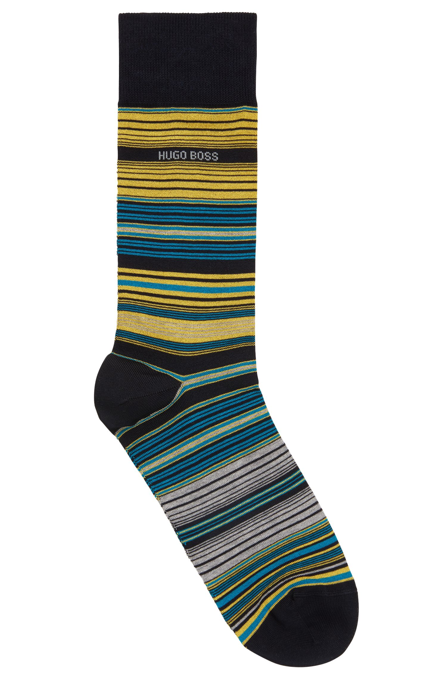 Gestreepte sokken van een gemerceriseerde katoenmix met normale lengte