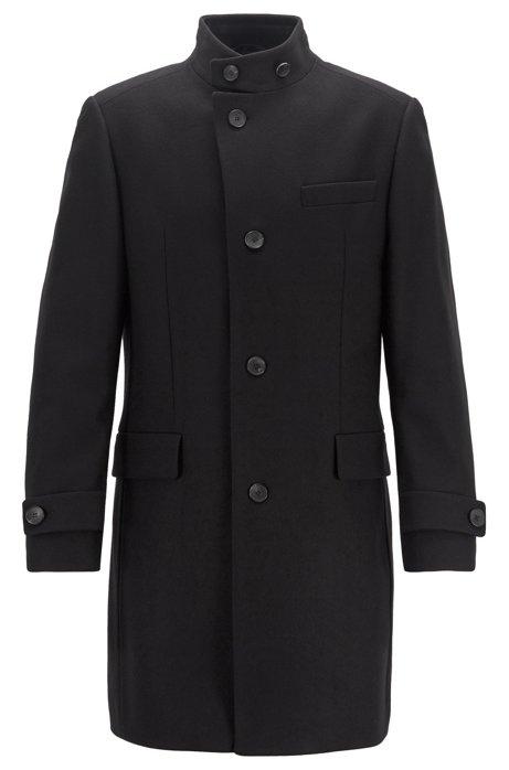 Lange mantel van een scheerwolmix, Zwart