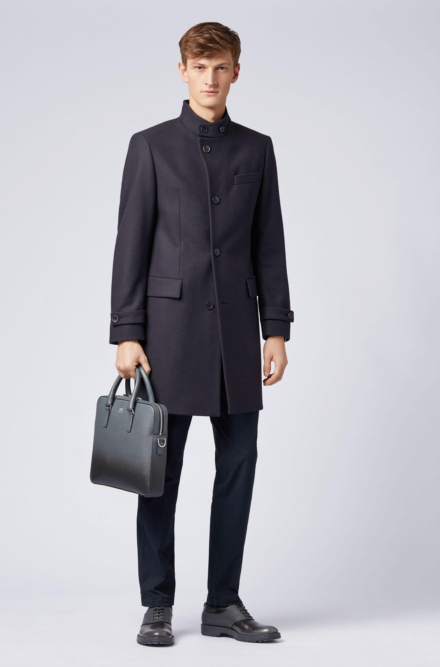 Manteau long en laine vierge mélangée, Bleu foncé