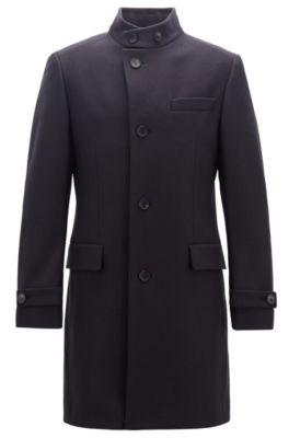 Langer Mantel aus Schurwoll-Mix, Dunkelblau