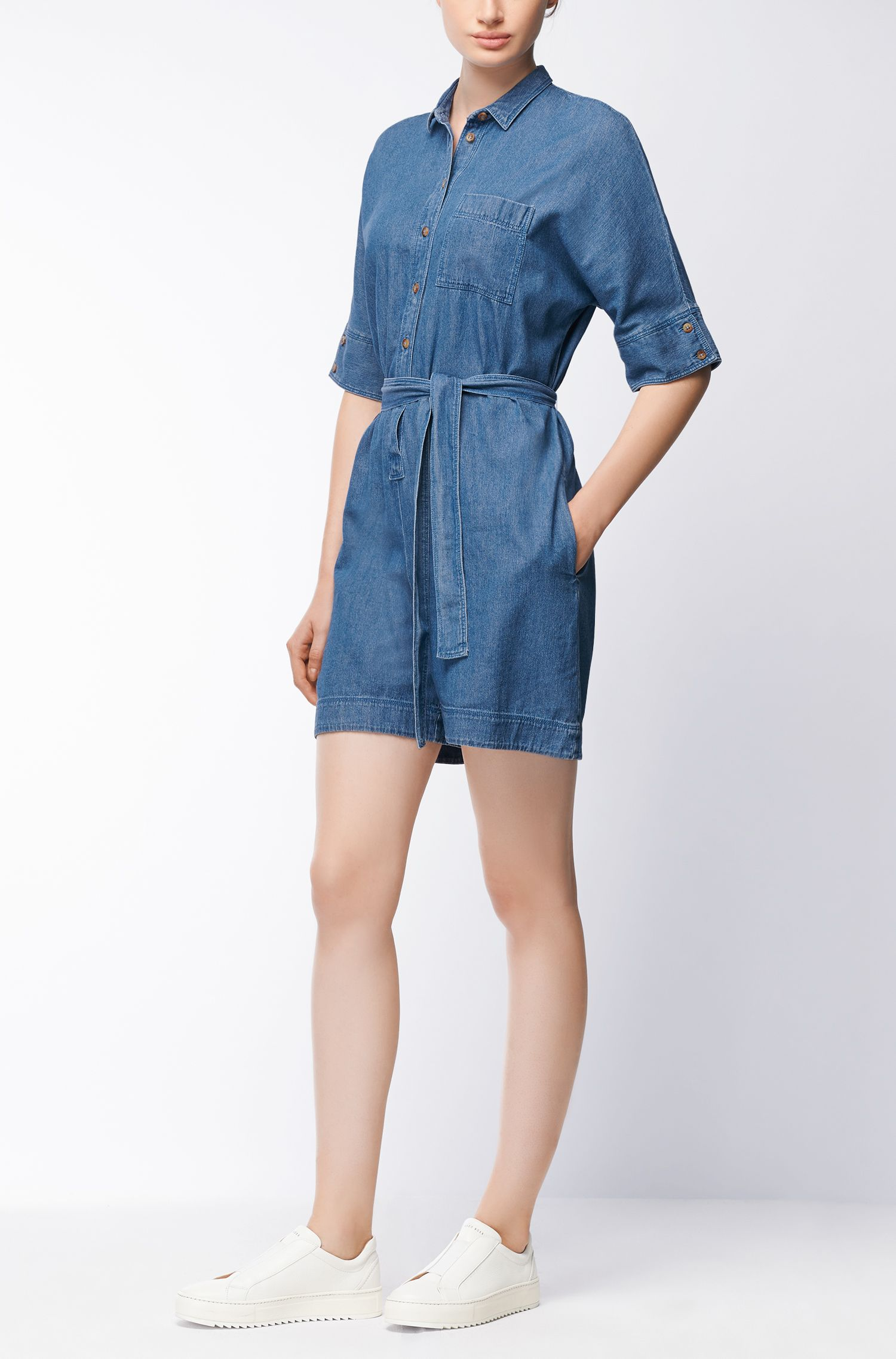 Denim playsuit with tie waist
