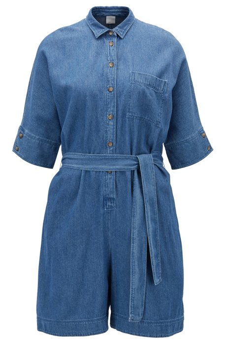 Denim playsuit with tie waist BOSS Cheap Low Cost t5uIHNfwa
