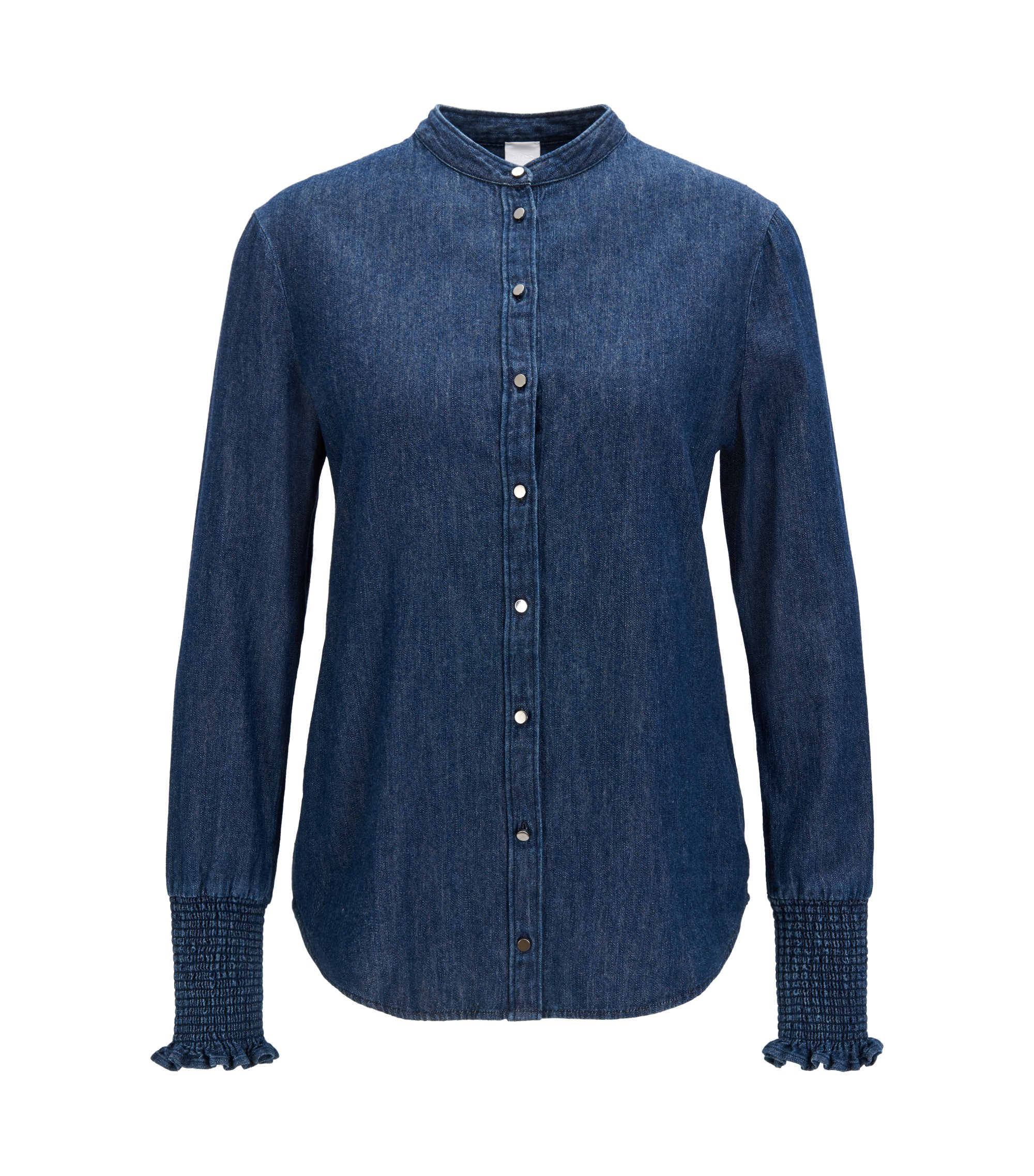 Camicia regular fit in denim con maniche con ricami a punto smock, Blu scuro