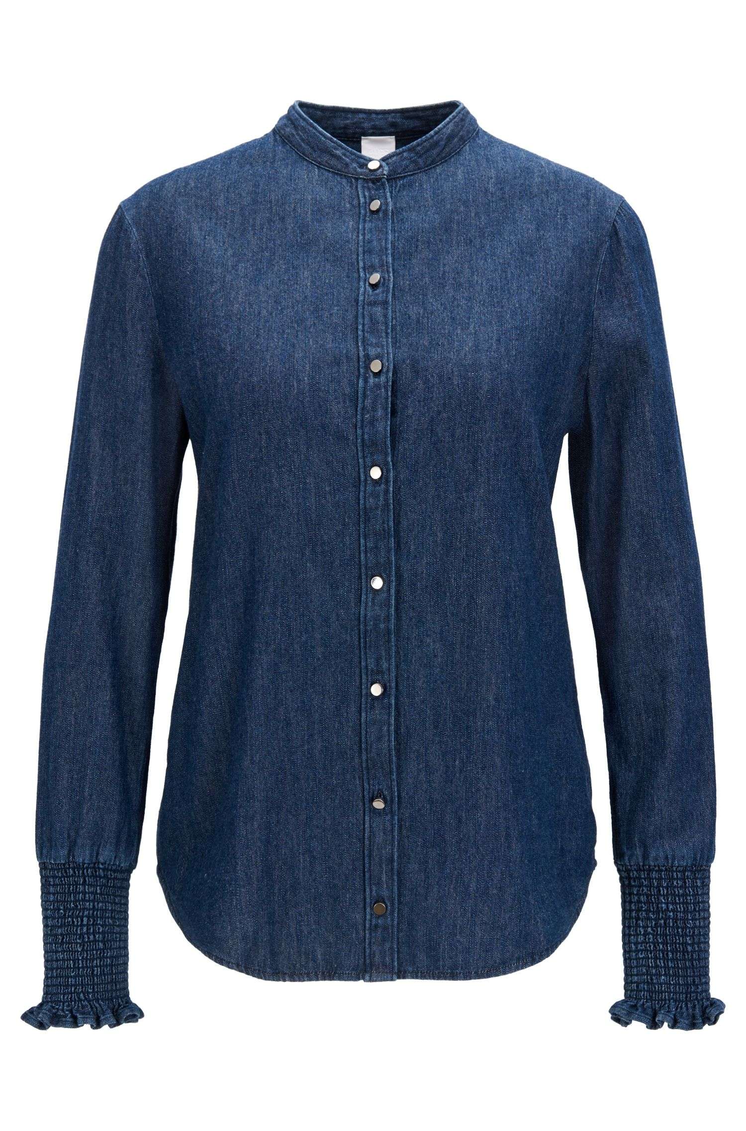 Regular-fit denim shirt with smocked sleeves