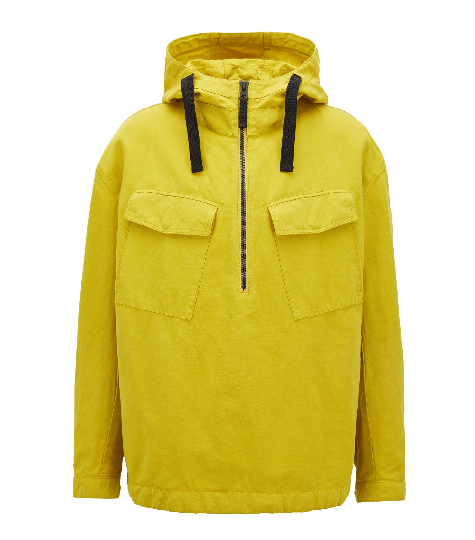 Anorak extragrande con capucha en mezcla de algodón, Amarillo