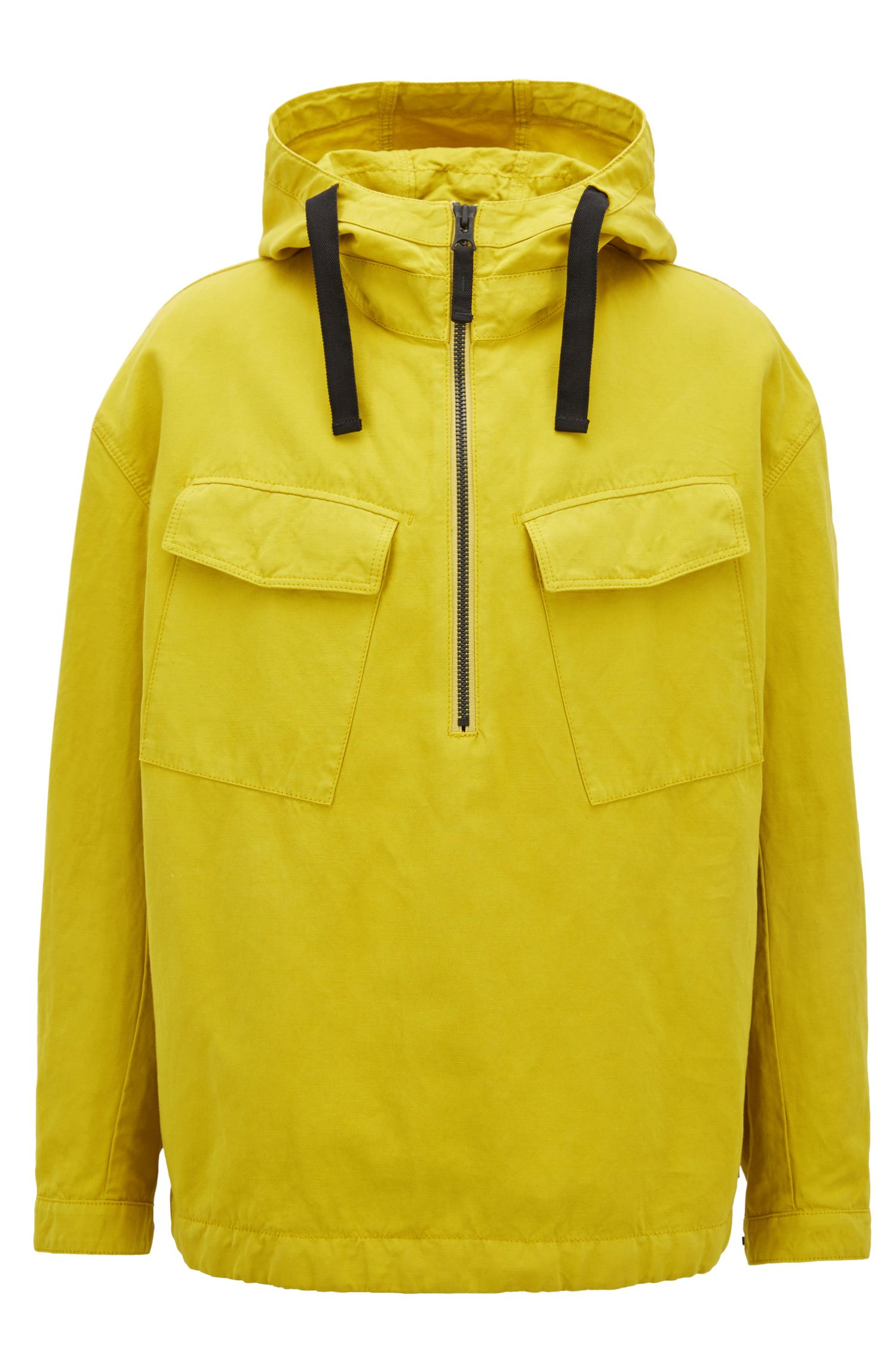 Oversized hooded anorak in a cotton blend, Yellow