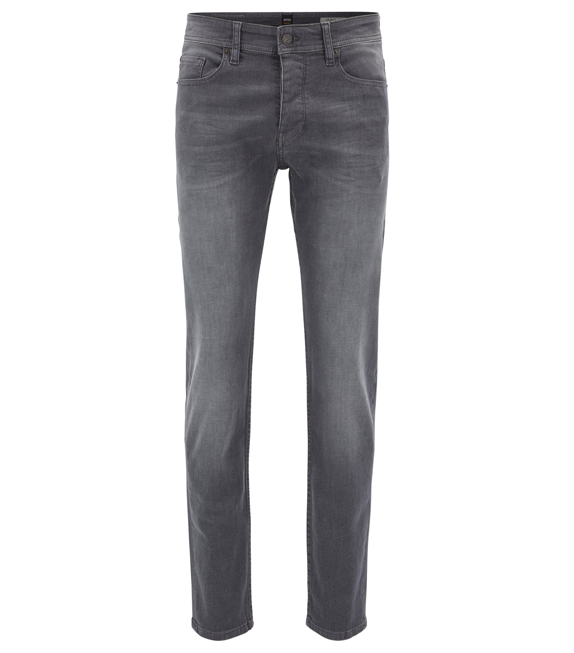 Jeans Tapered Fit en denim super stretch gris, Noir