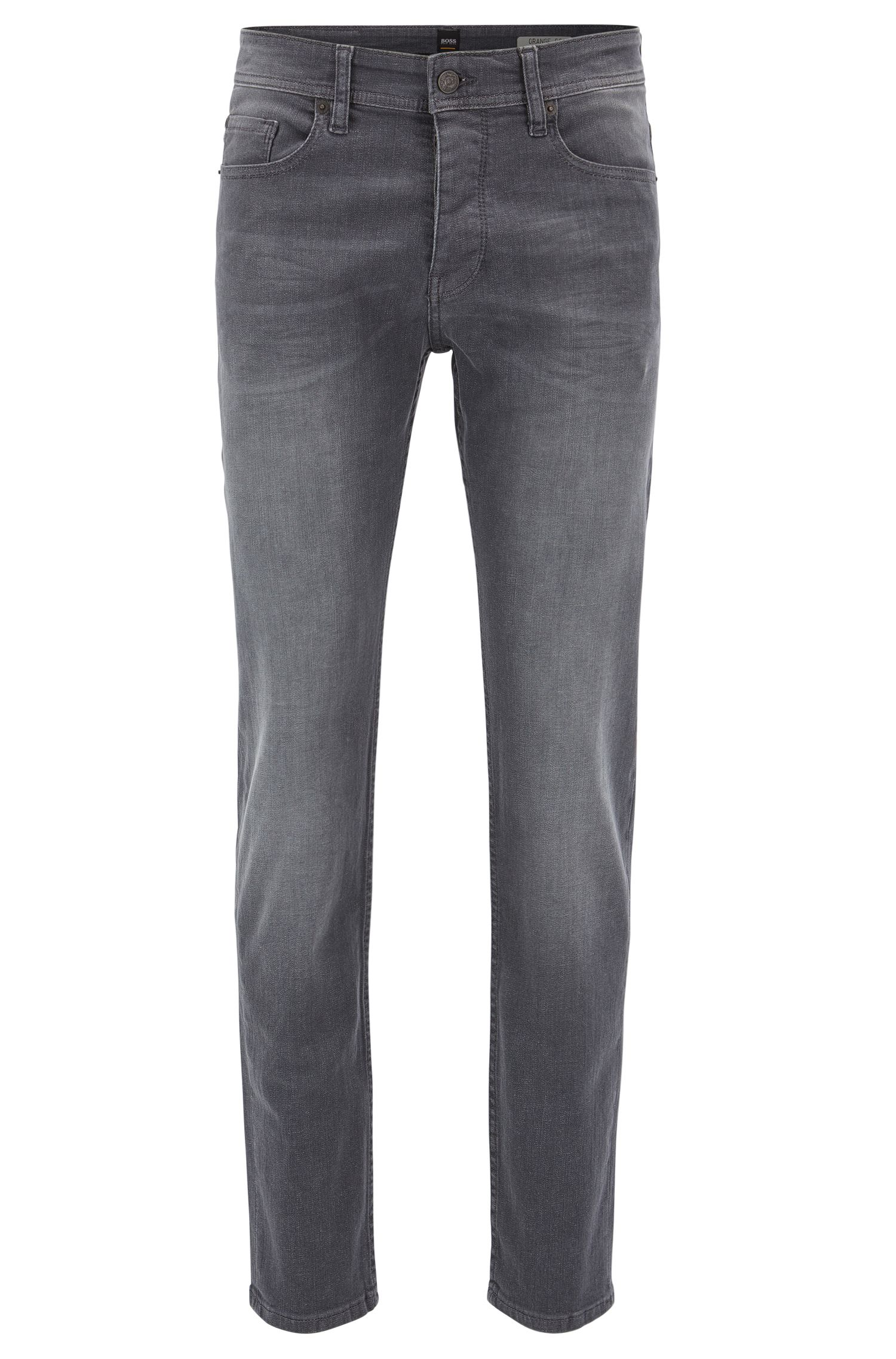 Tapered-fit jeans in stay-grey super-stretch denim
