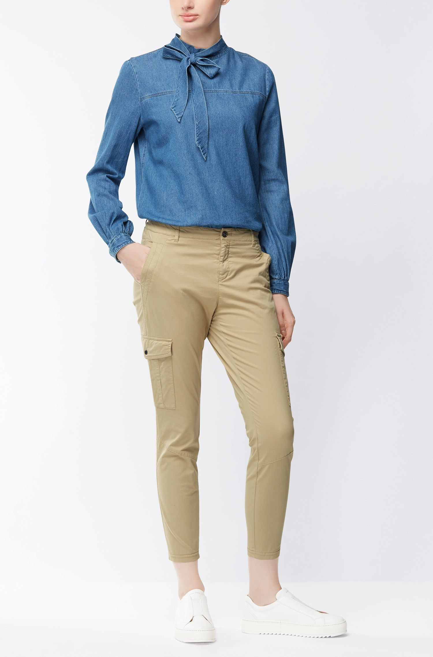 Regular-fit blouse in indigo denim