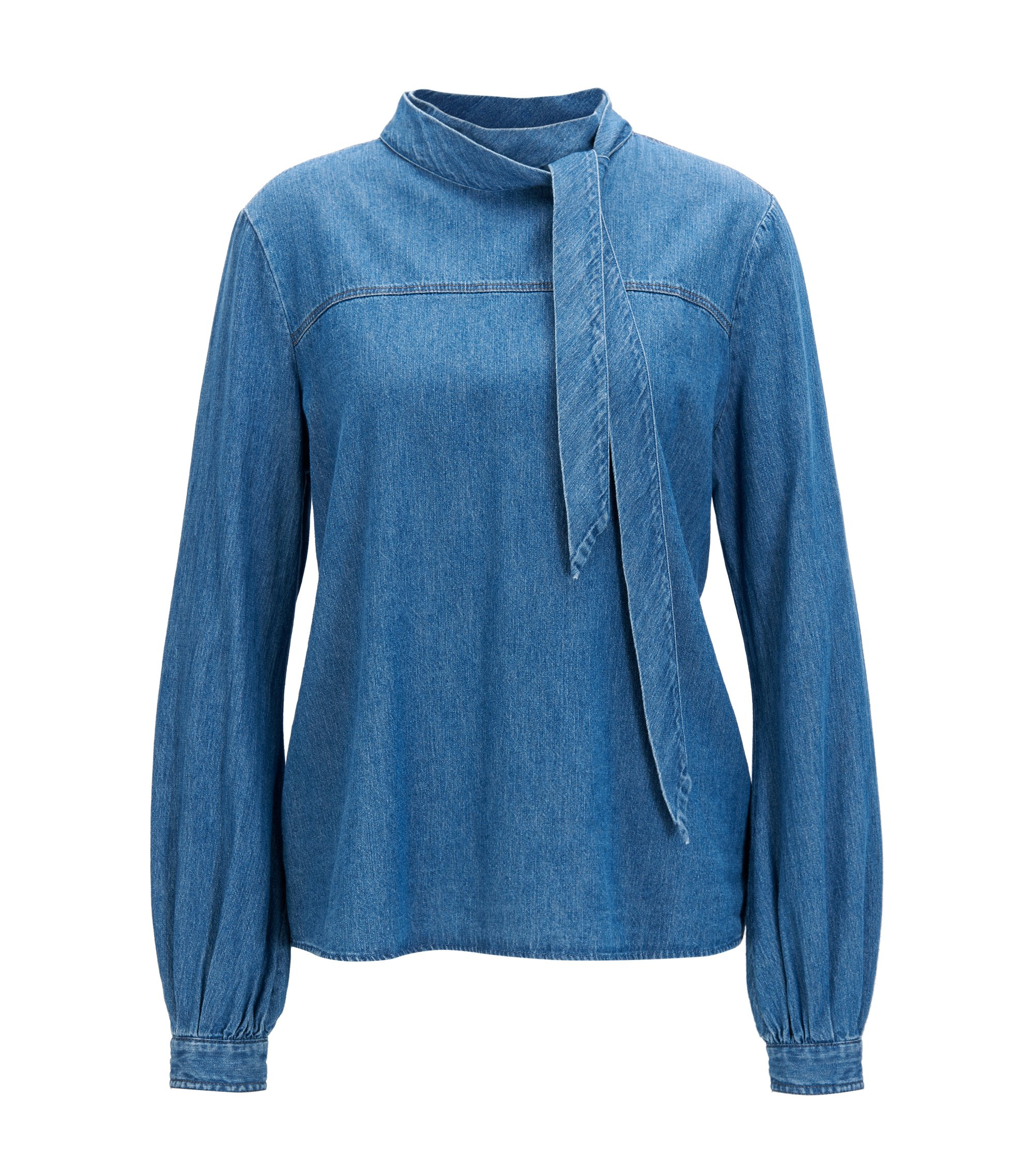 Regular-fit blouse in indigo denim, Donkerblauw