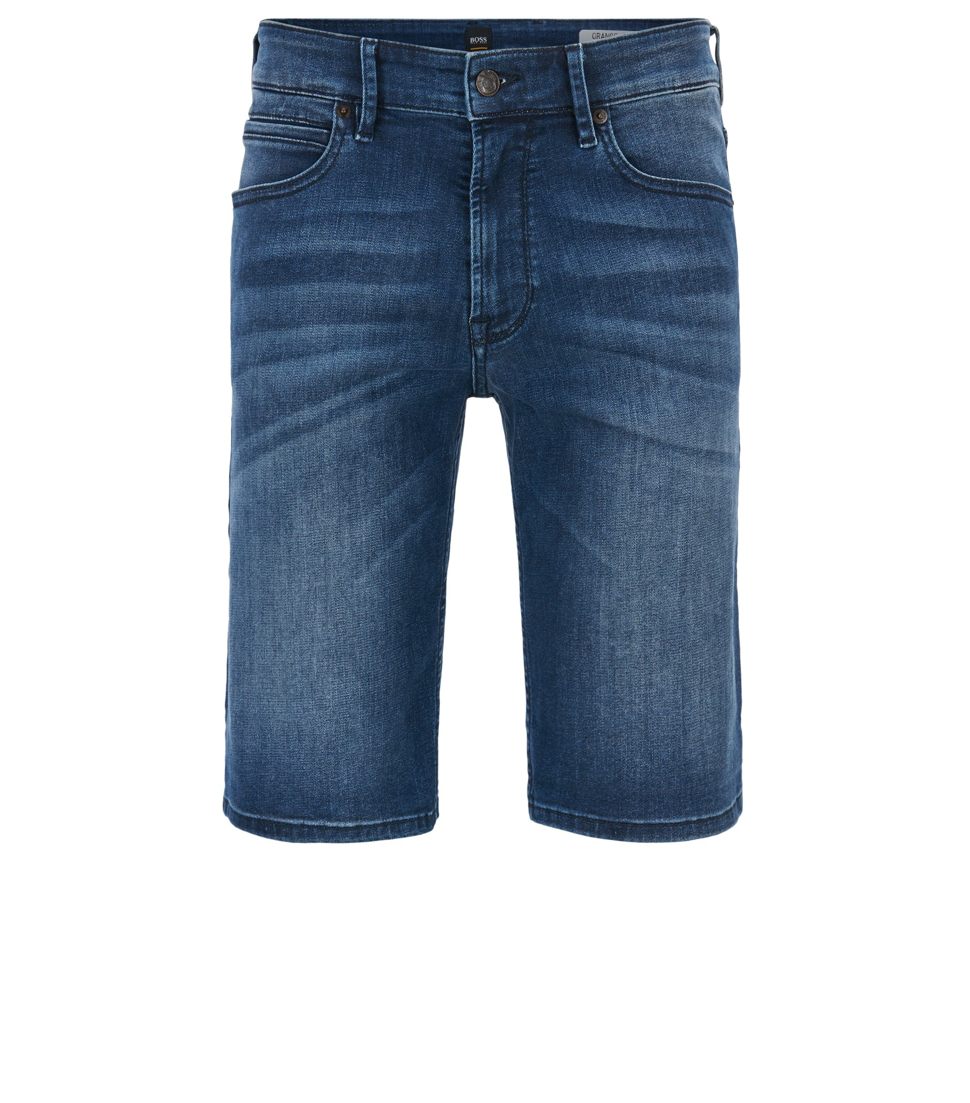 Short Regular Fit en denim super stretch, Bleu