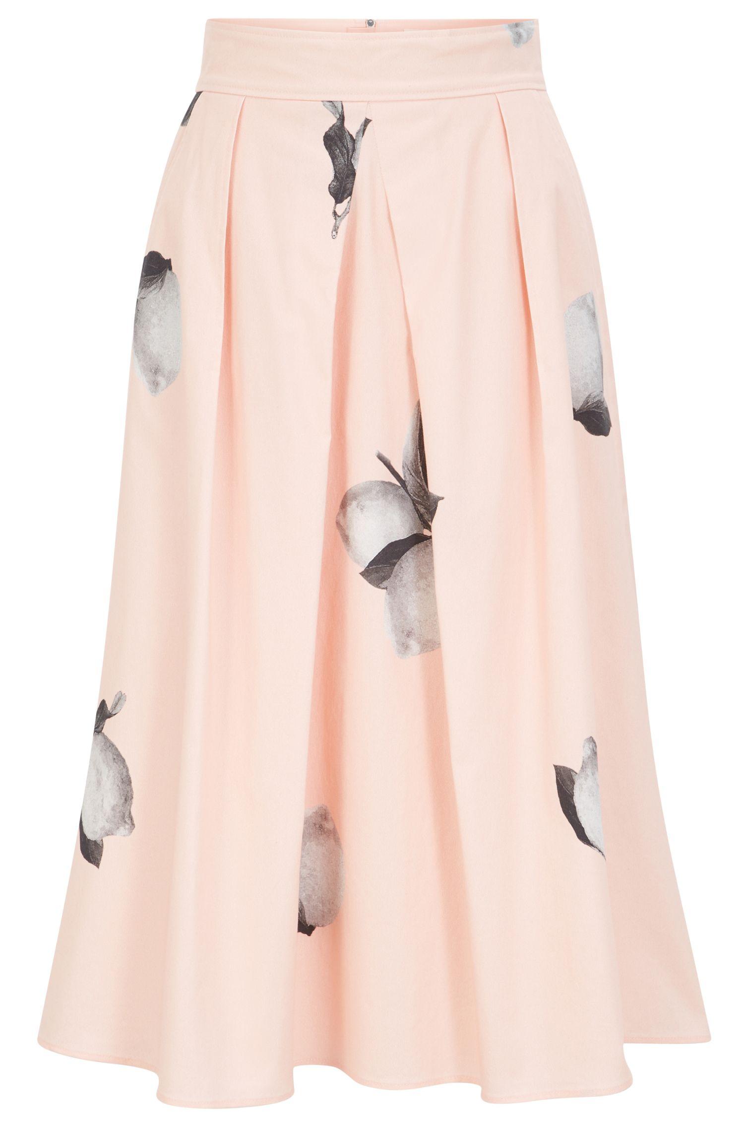 Lemon-print A-line skirt in stretch cotton poplin