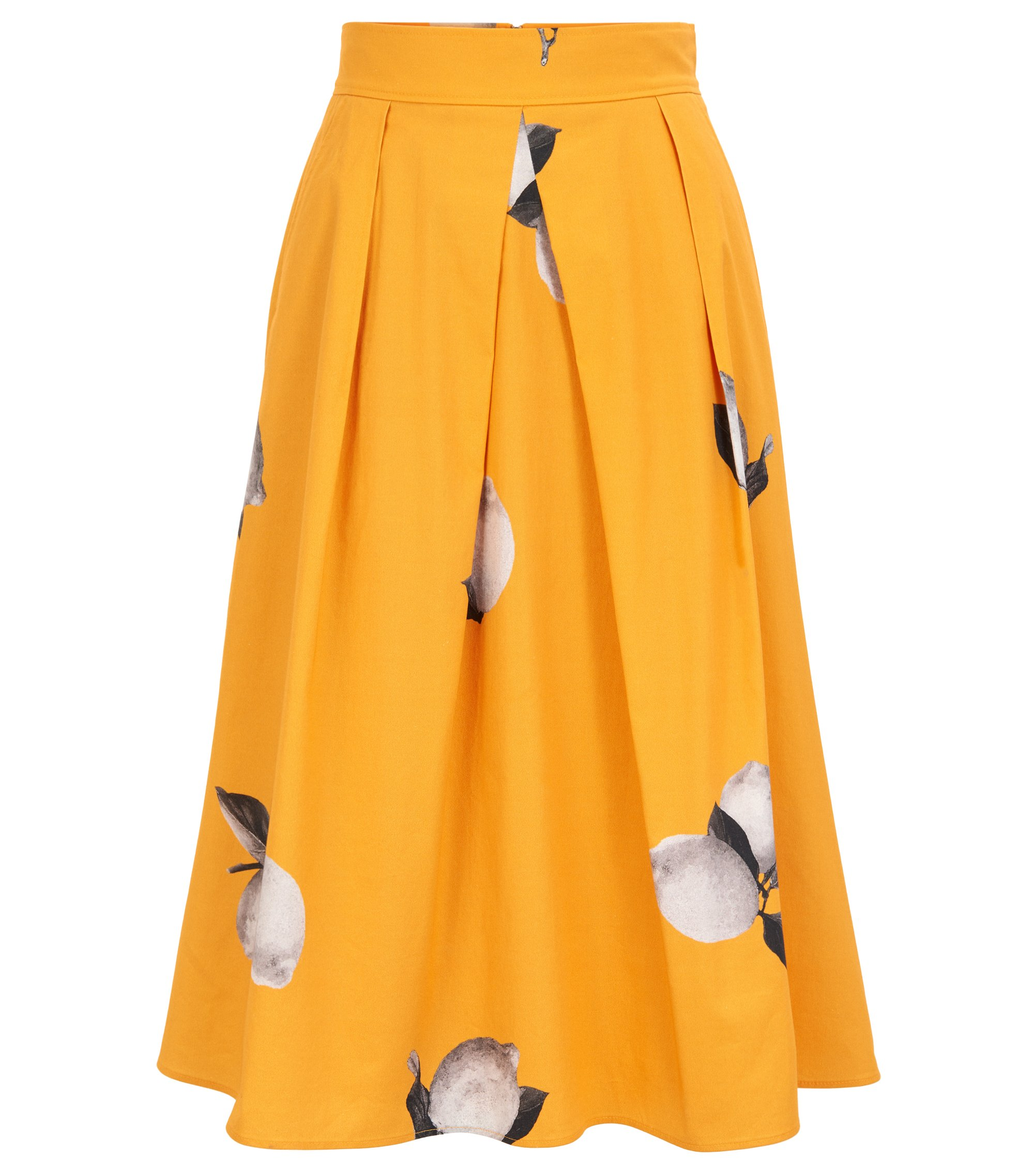 Lemon-print A-line skirt in stretch cotton poplin, Patterned