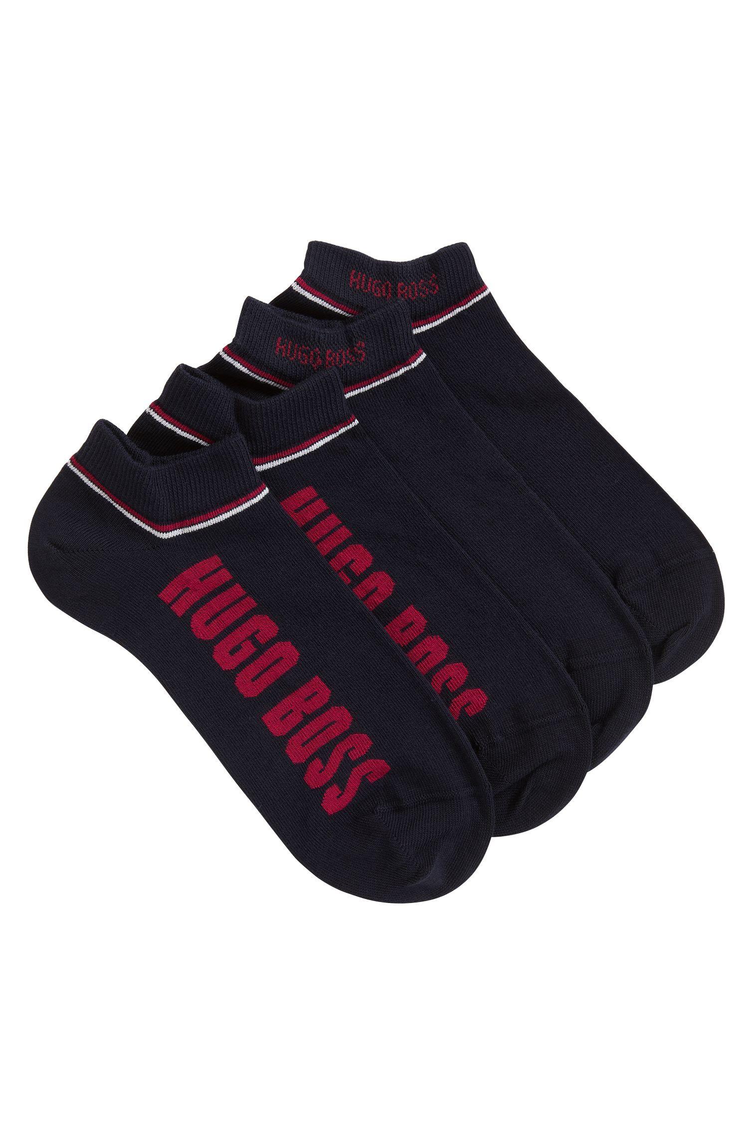 Set van twee paar sokken met streepdetail, Donkerblauw
