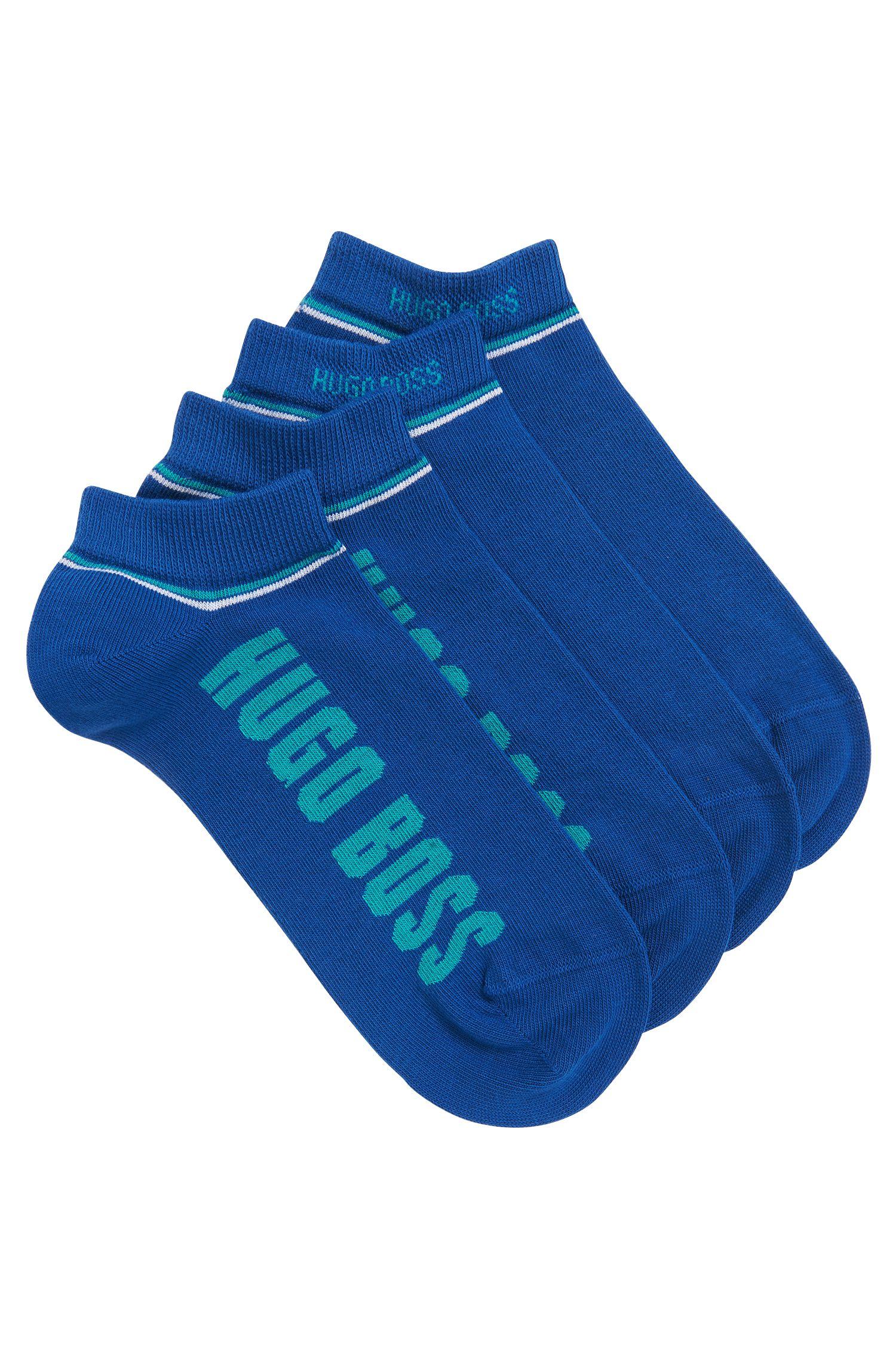 Lot de deux paires de socquettes à rayures, Bleu vif